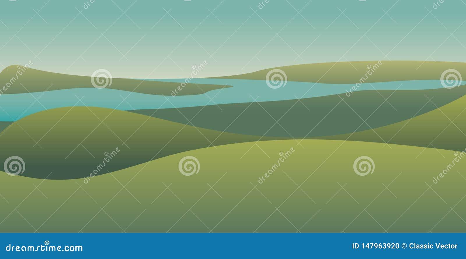 Pittoresk panorama- landskapfärgillustration