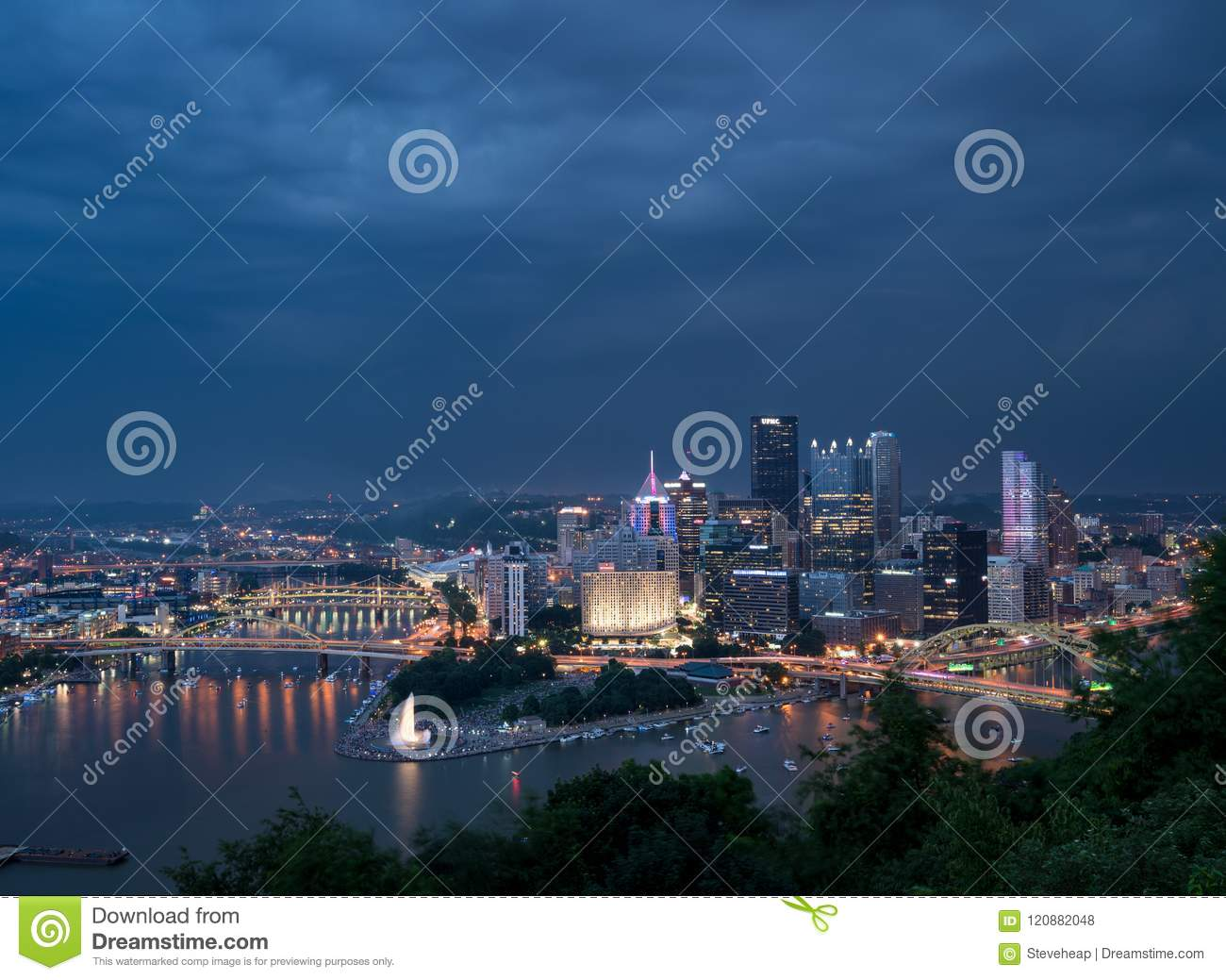 Cityscape of Pittsburgh on Independence Day
