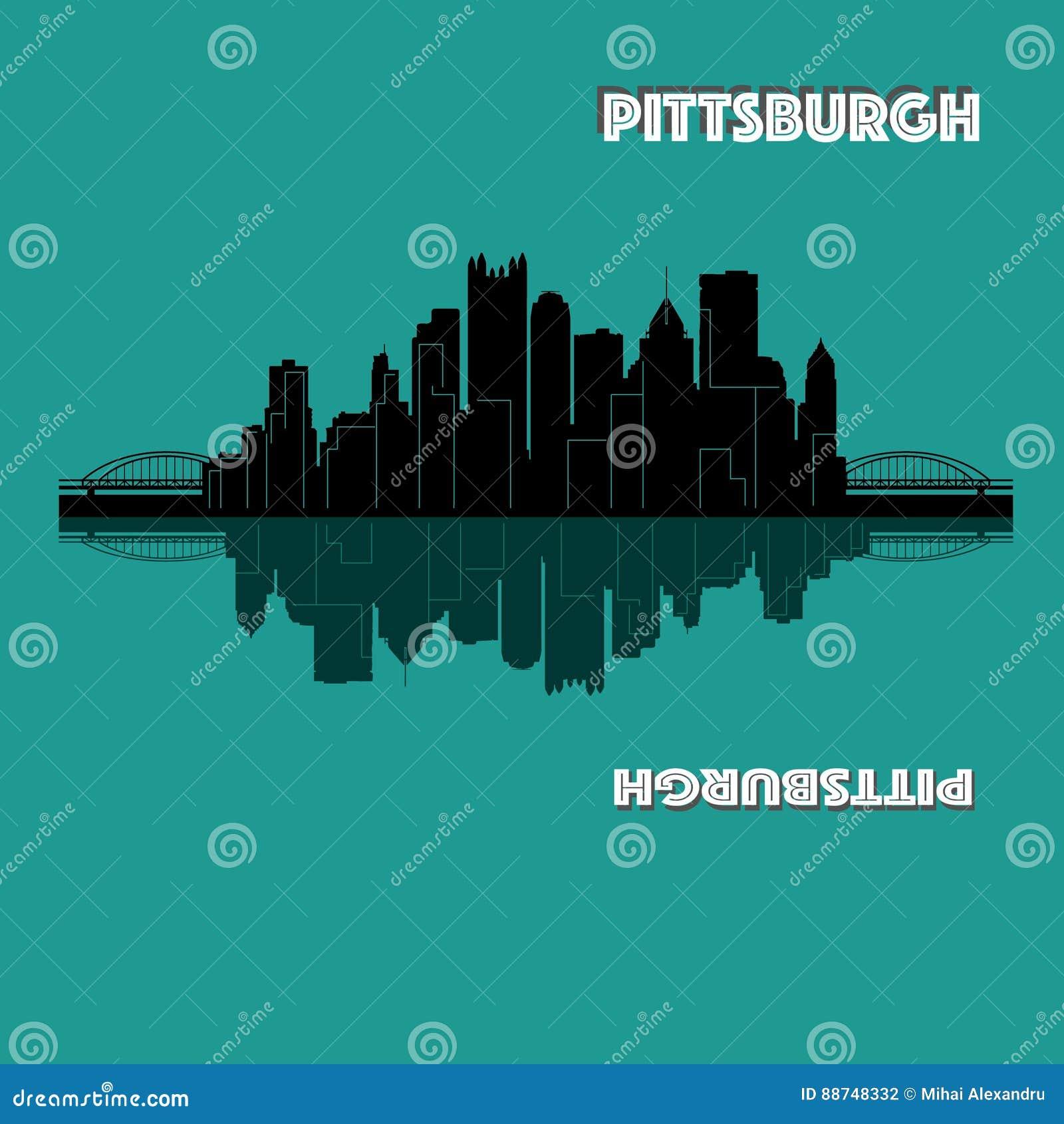 Pittsburgh Pennsylvania horisont USA Detaljerad vektorkontur, lägenhetdesign, härlig skugga, två broar, svart färg, spegel
