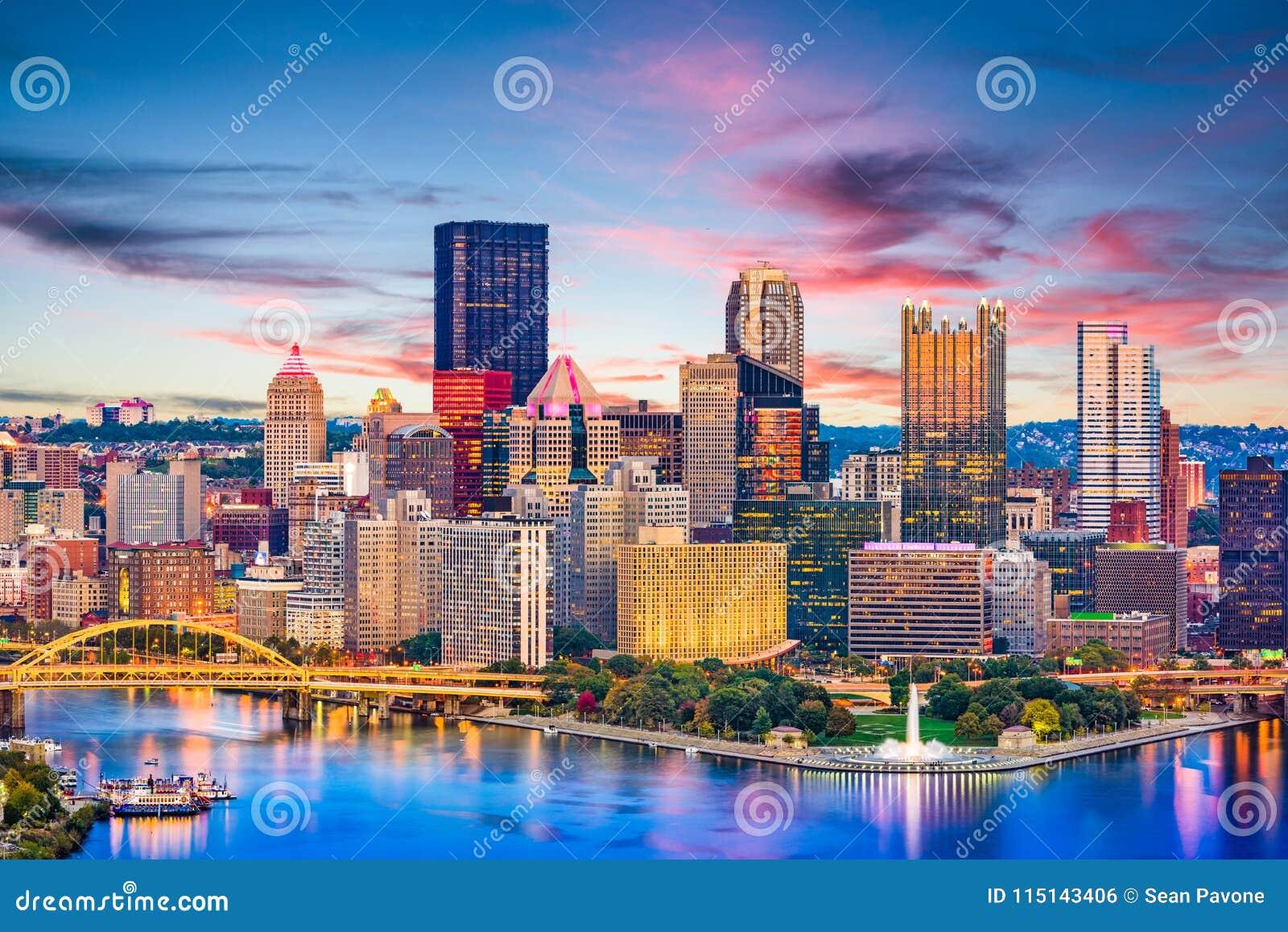 Pittsburgh, Pennsylvania, río de los E.E.U.U. y horizonte