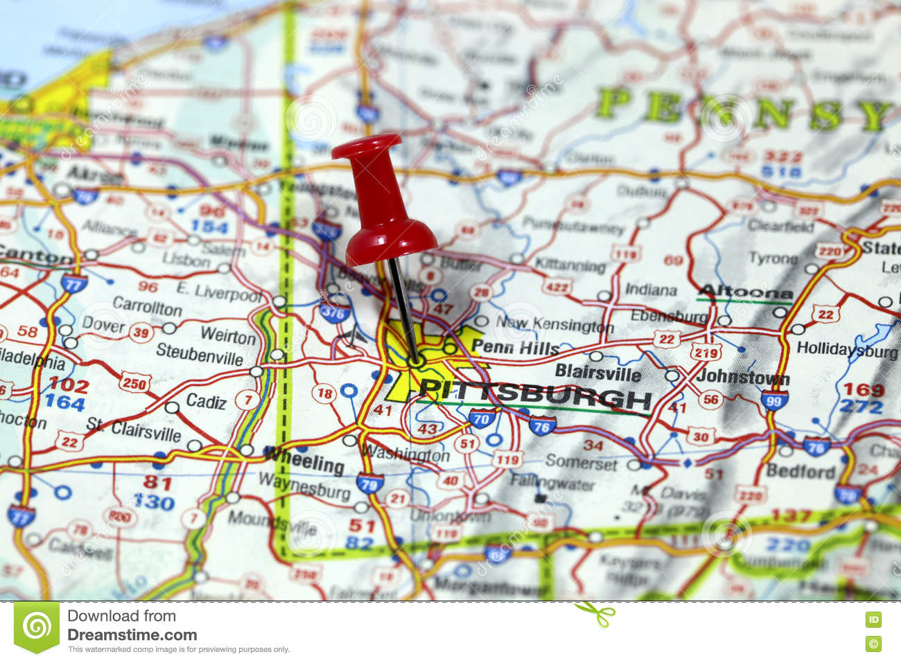 Pittsburgh On Map Of Usa.Pittsburgh In Pennsylvania Usa Stock Image Image Of Globe Road