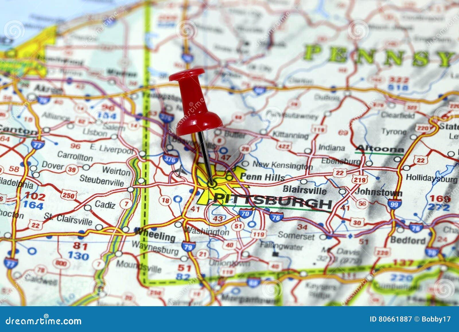 Pennsylvania In Usa Map.Pittsburgh In Pennsylvania Usa Stock Image Image Of Globe Road