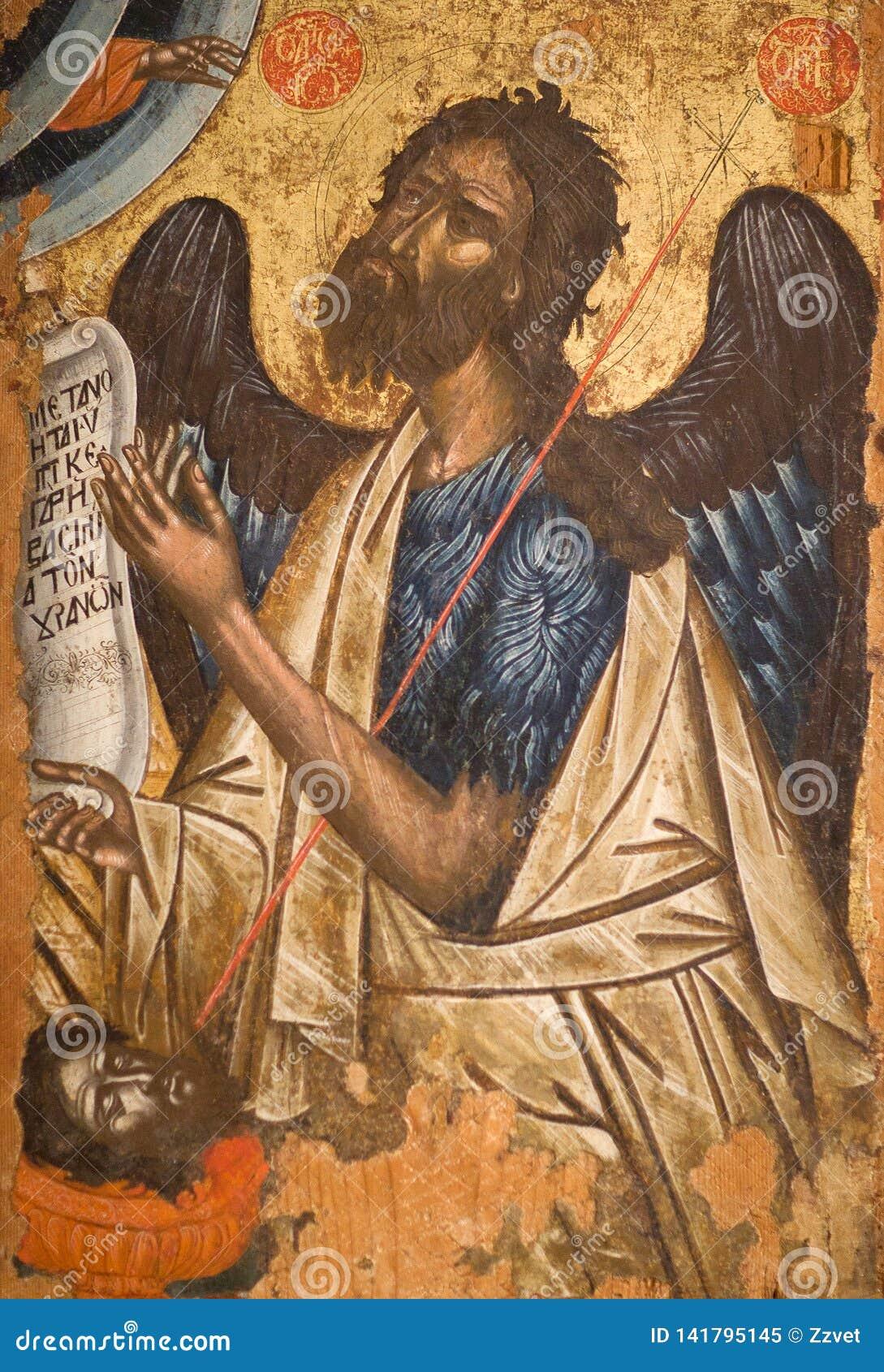 Pittura antica con Saint John il battista
