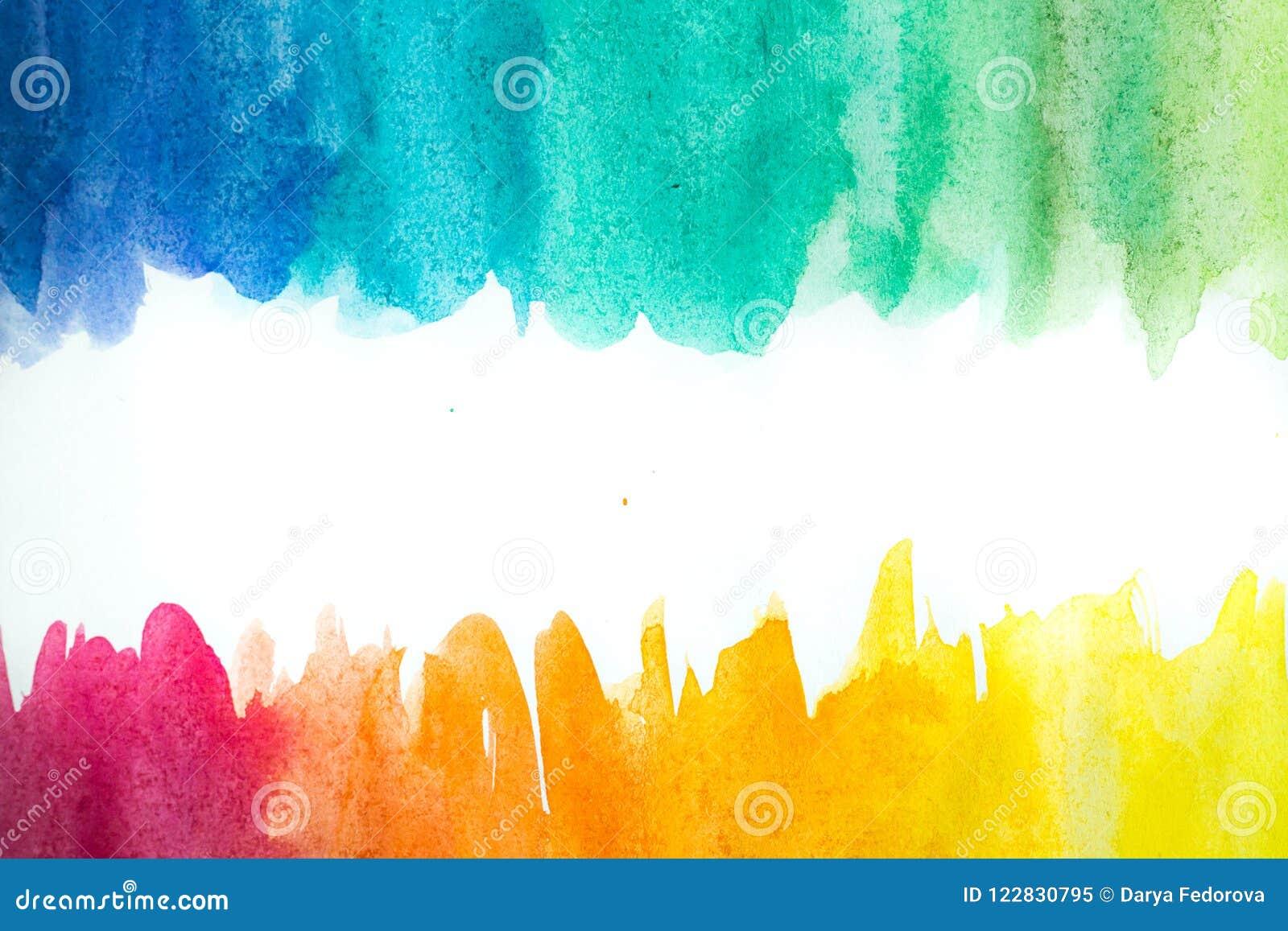 Pittura astratta della mano di arte dell acquerello su fondo bianco Priorità bassa dell acquerello
