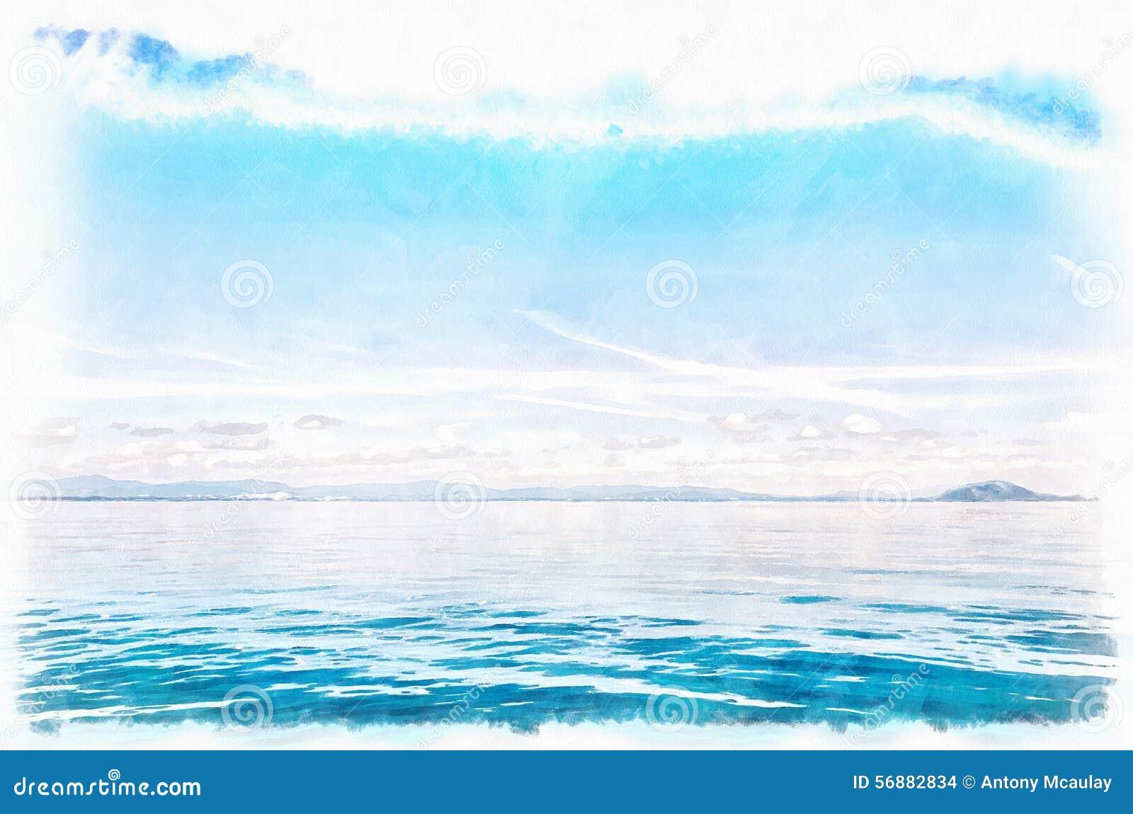Pittura blu dell acquerello di Digital di orizzonte