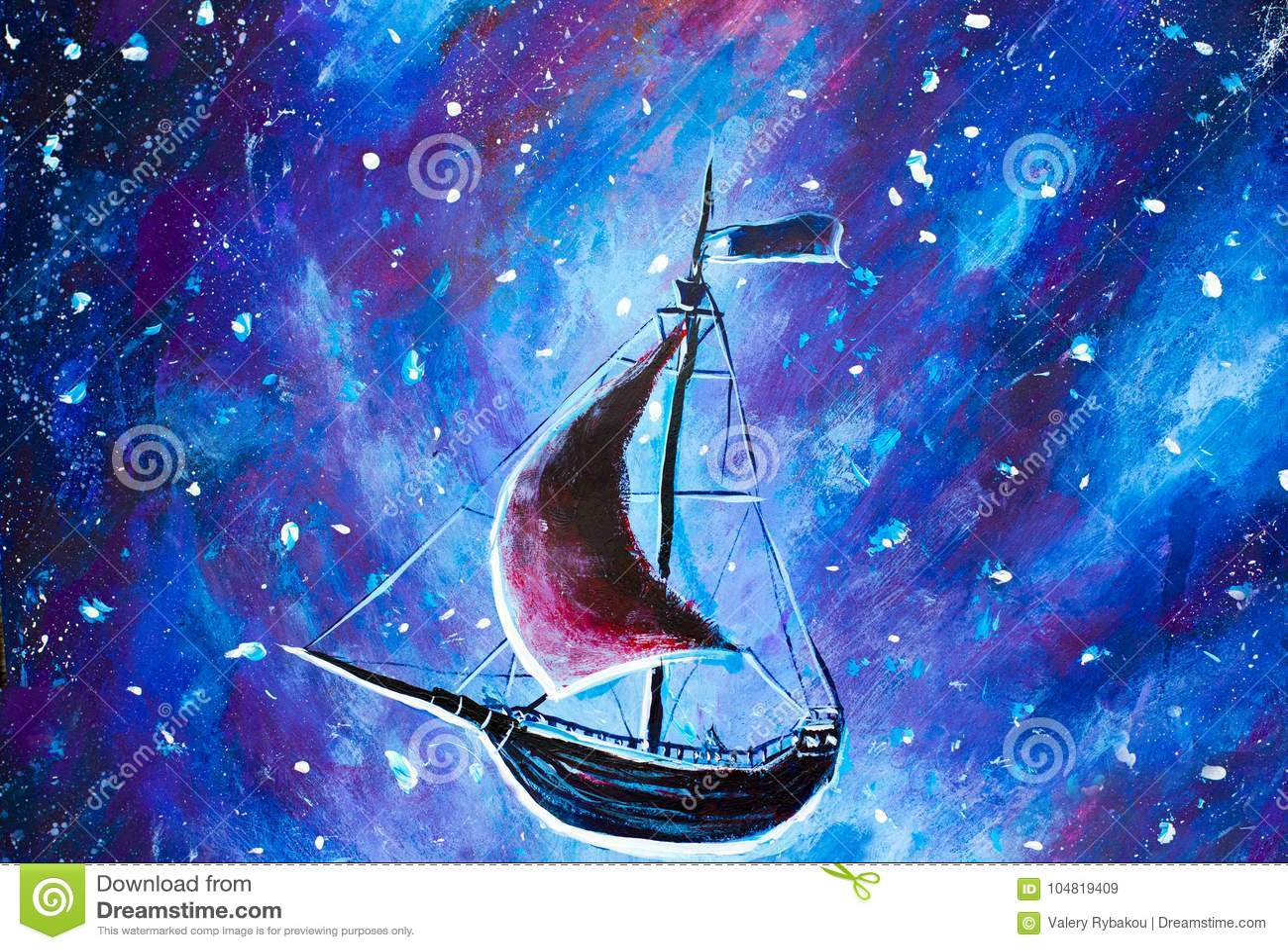 Pittura che pilota una vecchia nave di pirata La nave del mare sta volando sopra il cielo stellato Una fiaba, un sogno Peter Pan