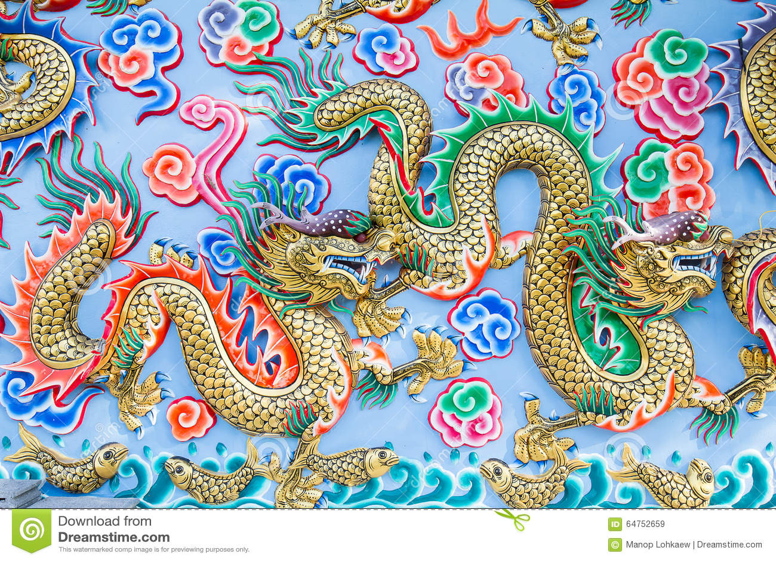 Pittura Del Drago Sulla Parete In Tempio Cinese Immagine ...