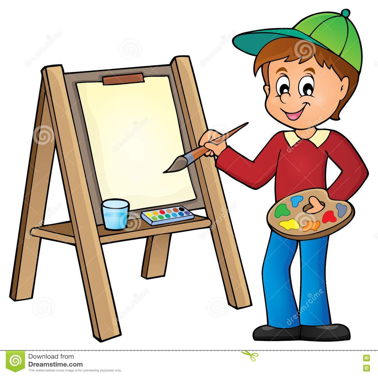 Pittura del ragazzo sulla tela 1