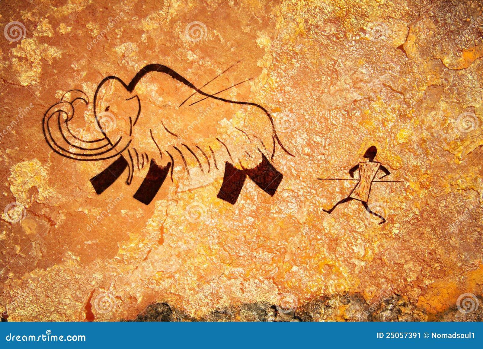 Pittura di caverna della caccia primitiva immagine stock for Piani di caverna dell uomo
