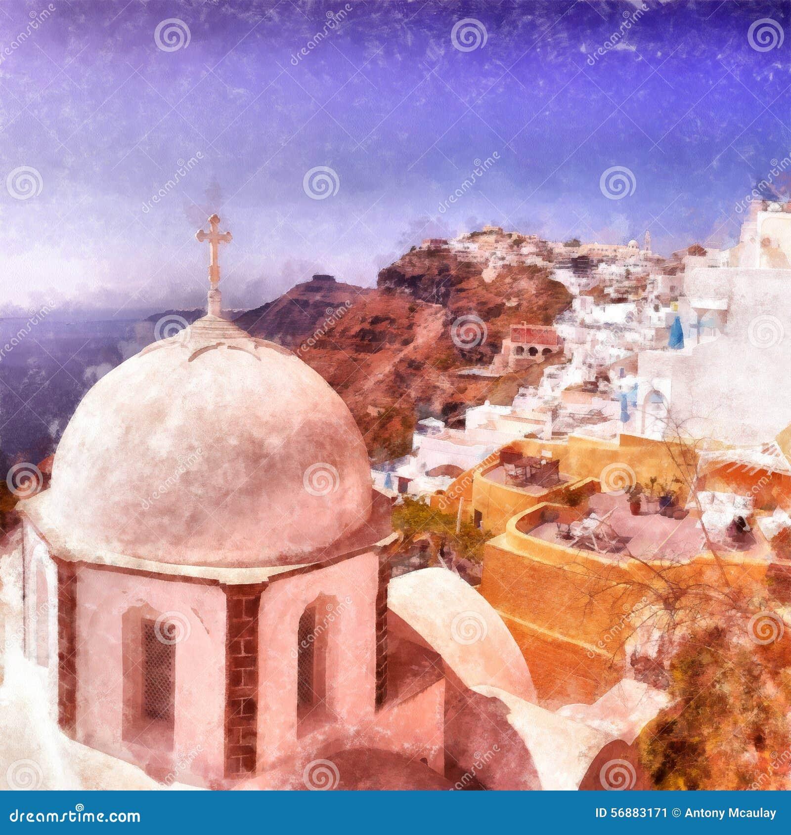 Pittura digitale dell acquerello della chiesa di Fira
