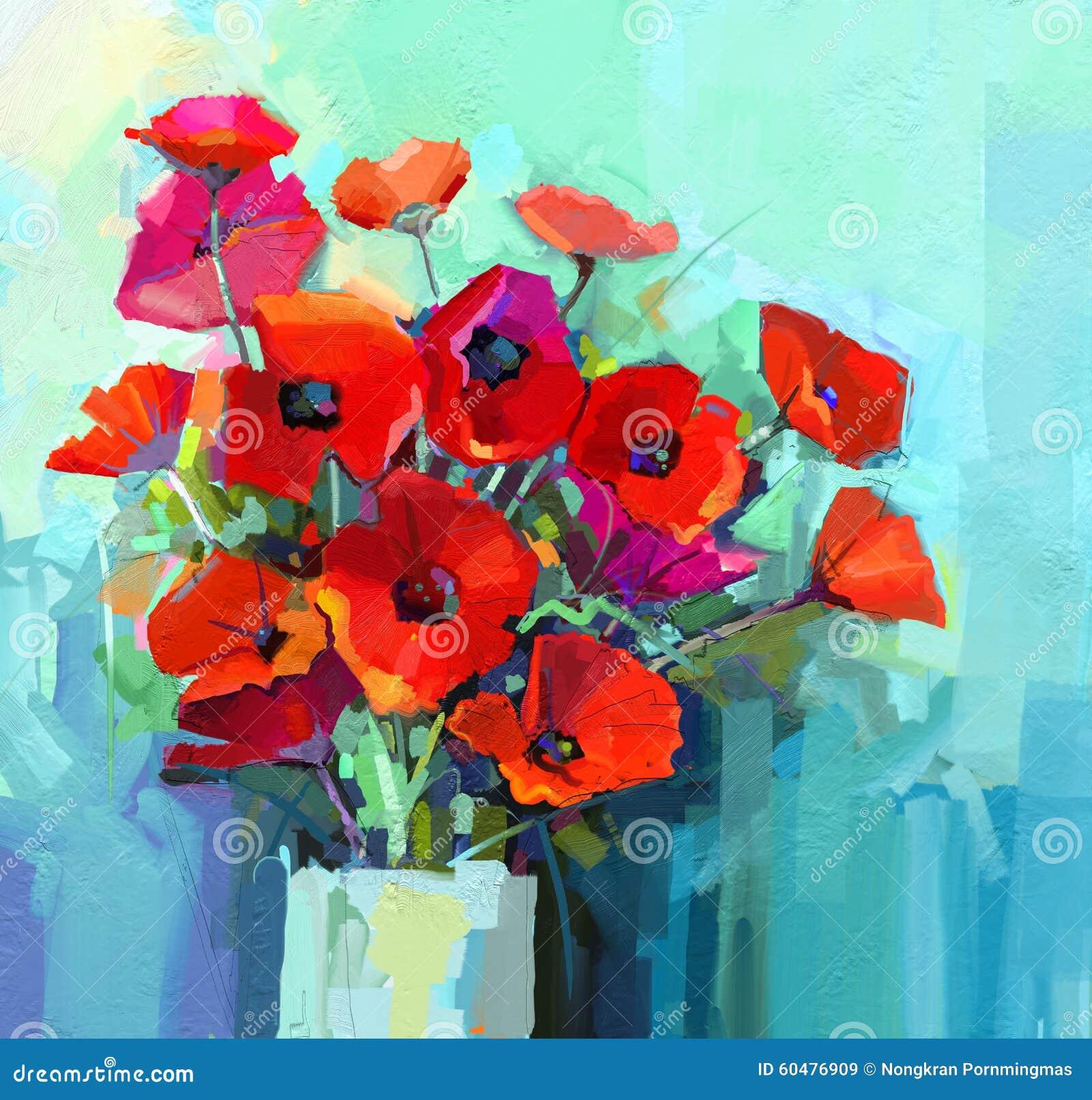 Très Pittura A Olio - Natura Morta Del Fiore Rosso E Rosa Di Colore  TB66