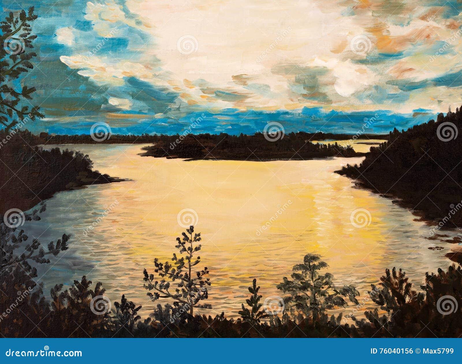 Pittura a olio su tela tramonto sul lago disegno for Lago disegno