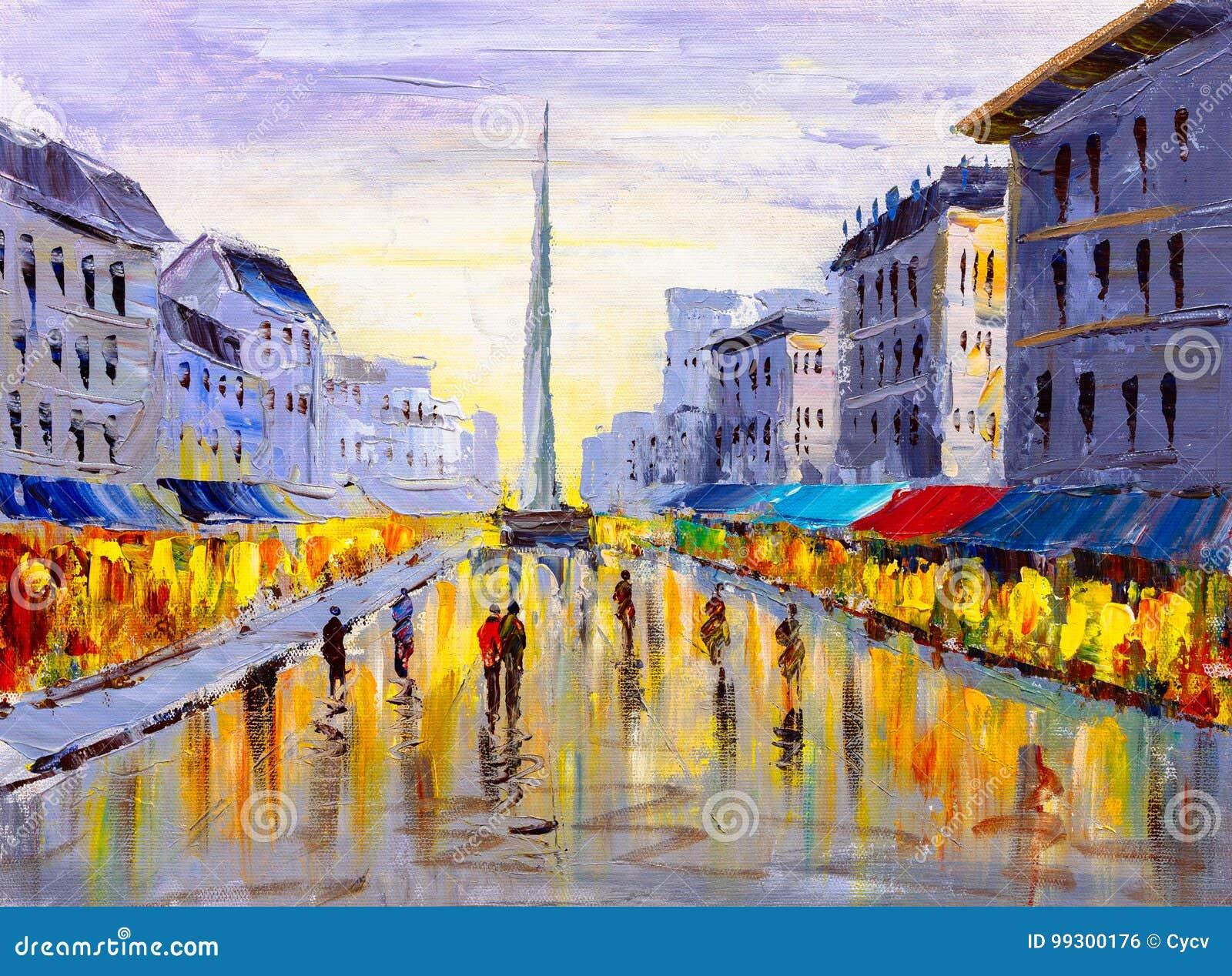 Pittura a olio - vista della città di Europa
