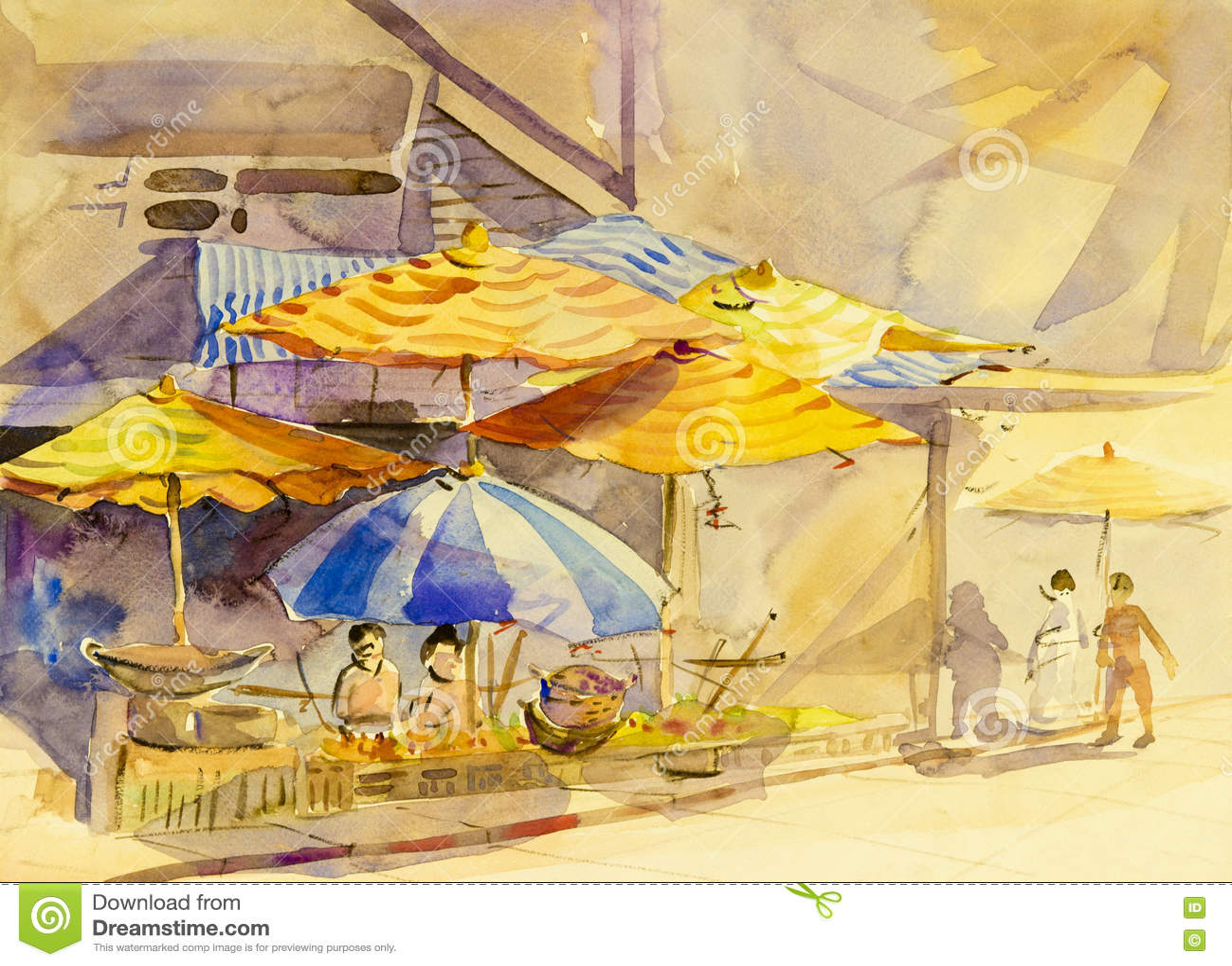 Pittura originale del paesaggio dell acquerello variopinta di vita familiare