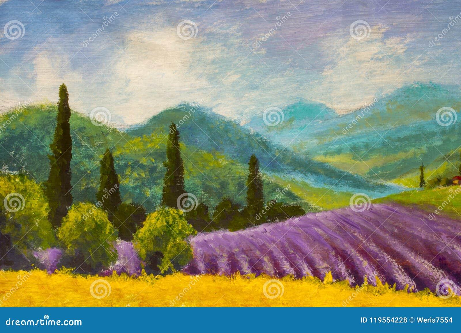 Case Rurali Toscane : Pittura porpora del giacimento della lavanda campagna italiana di