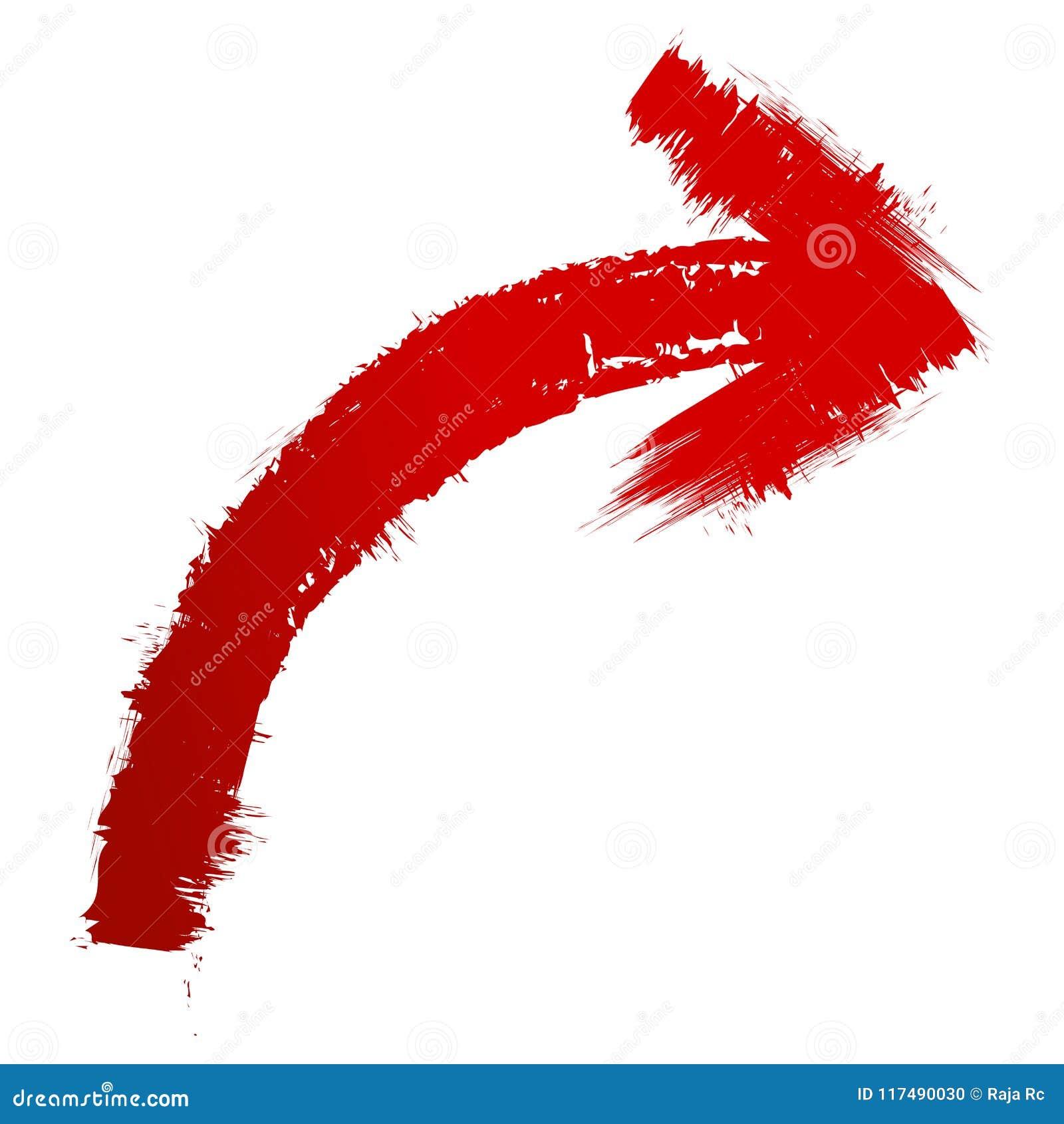 Pittura rossa della freccia a spazzole