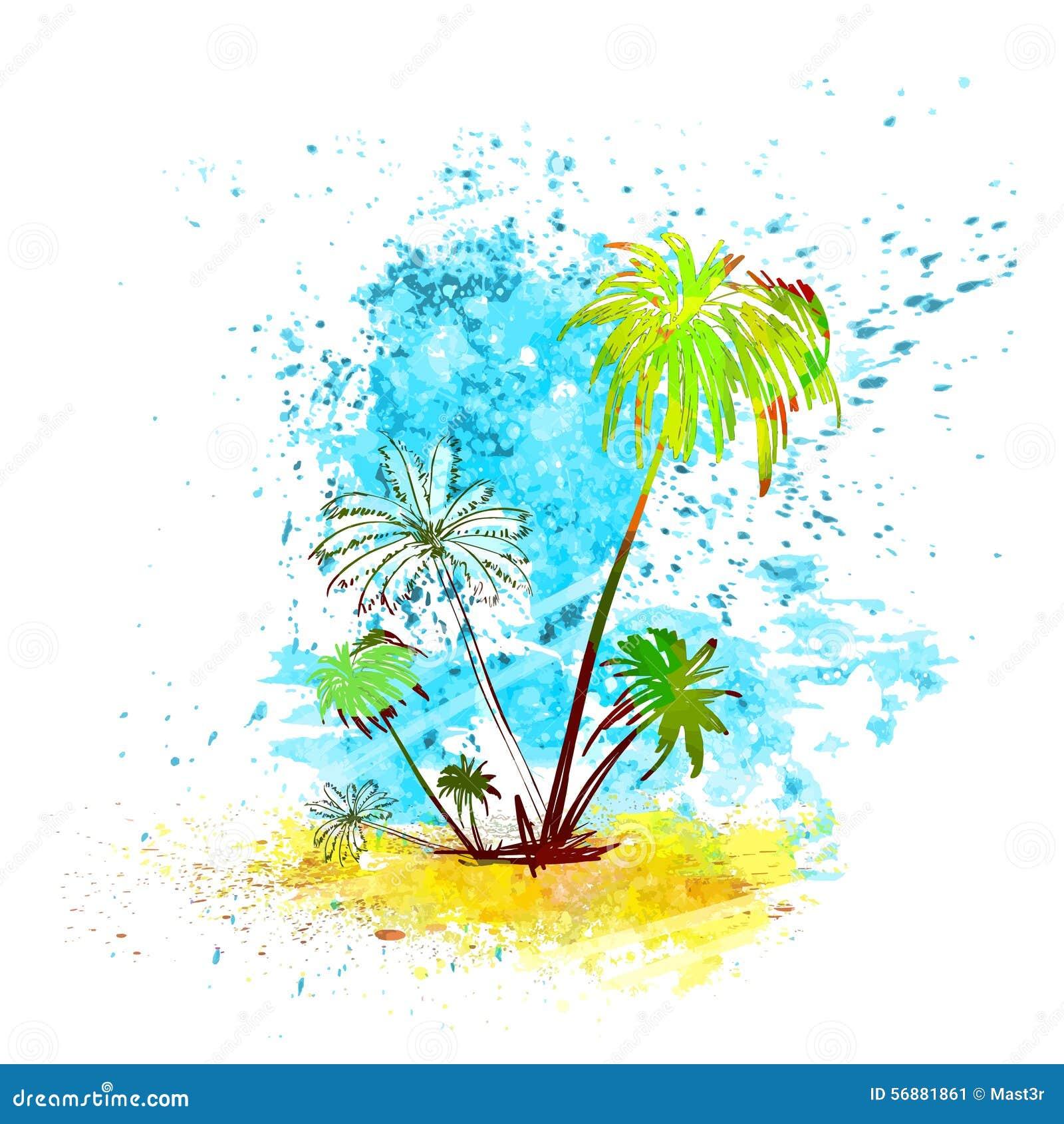 Pittura tropicale della spruzzata dell acqua dell isola della palma