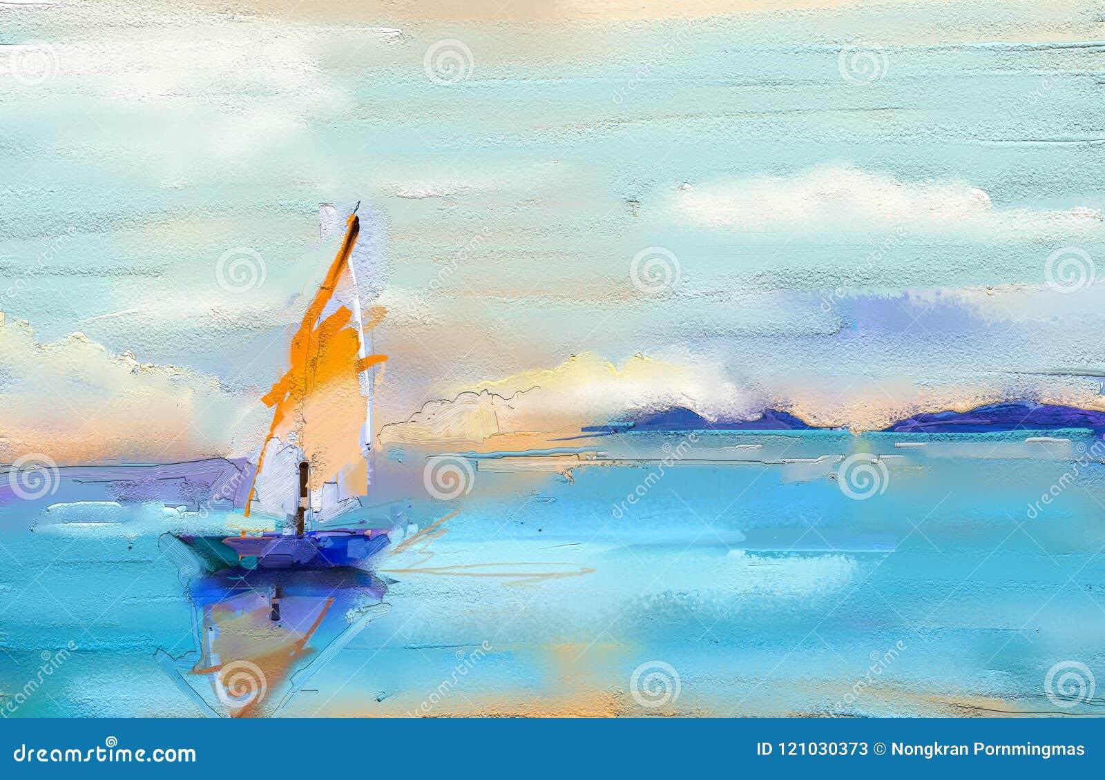 Pitture a olio di arte moderna con la barca, vela sul mare Contem astratto