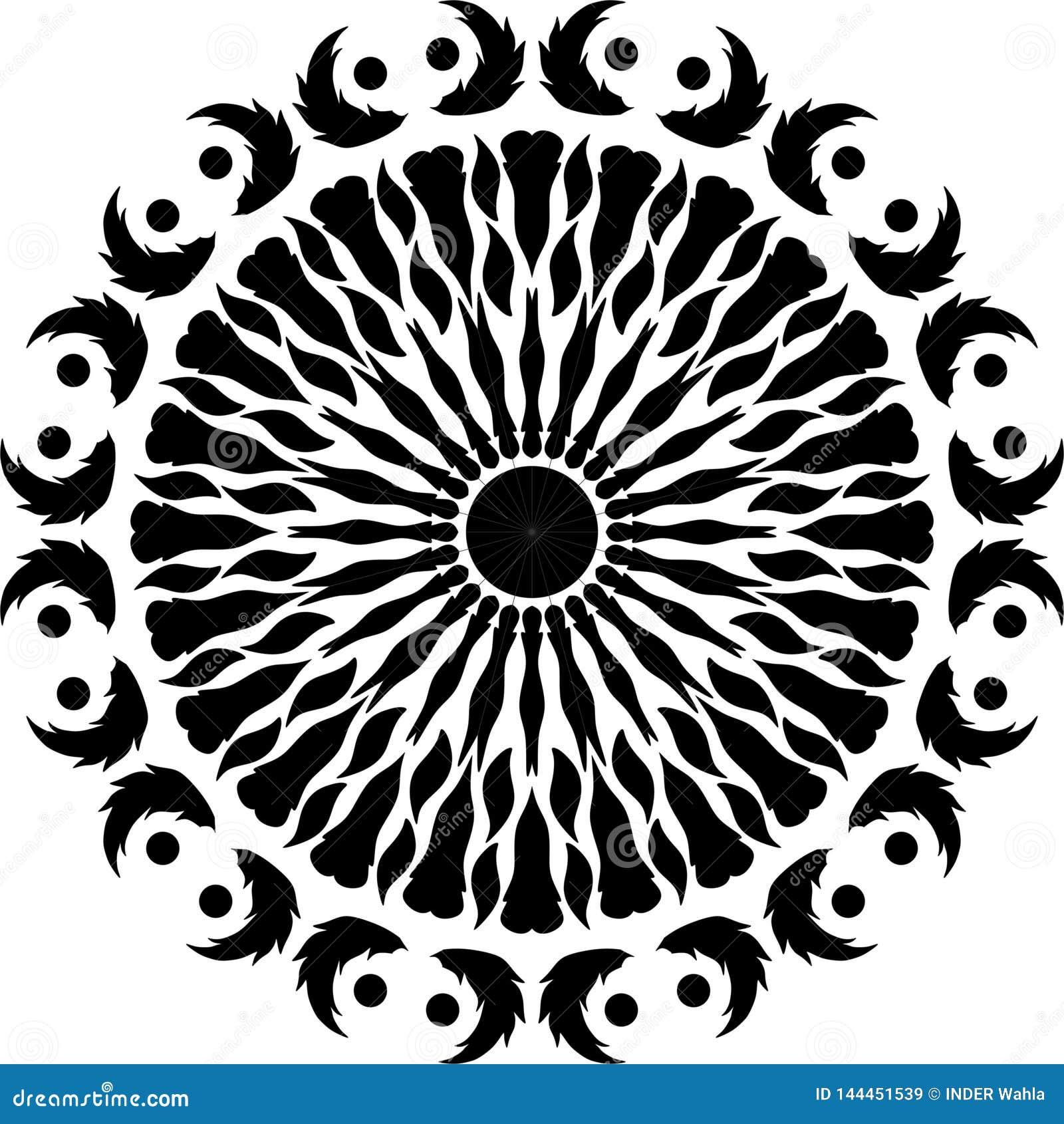 Piuma rotonda di progettazione, foglie in bianco e nero e rotonde del giunto di progettazione ali degli uccelli, piuma di uccello