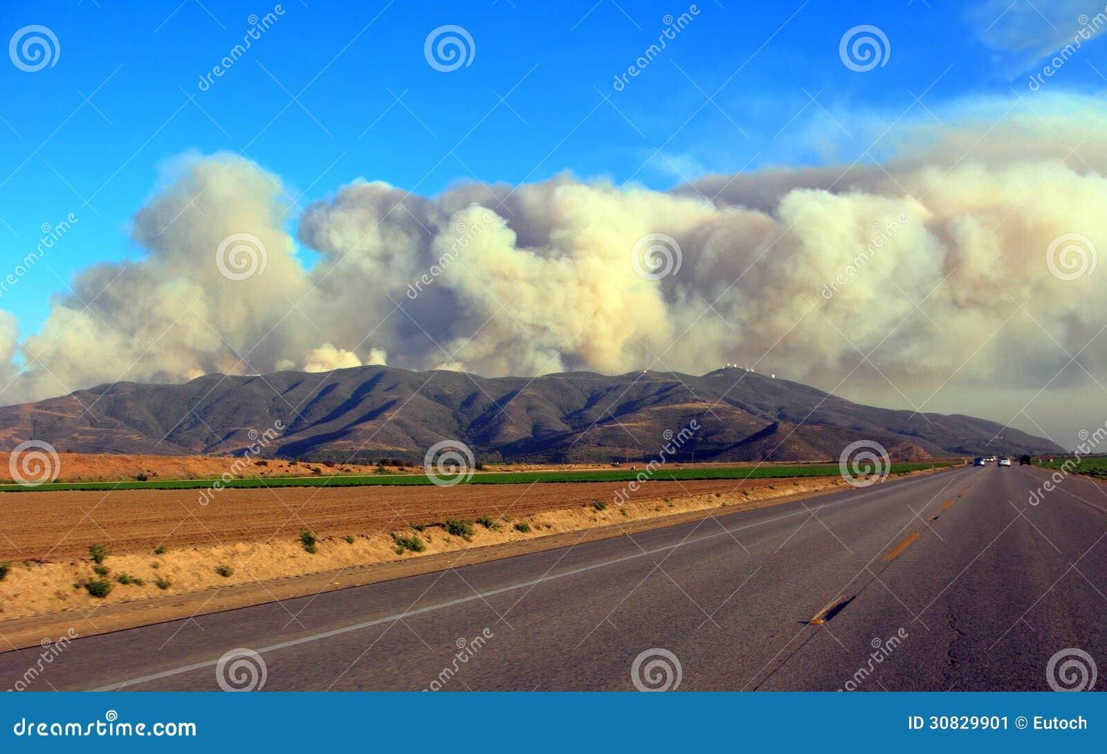 Piume massicce del fumo dell incendio del sottobosco