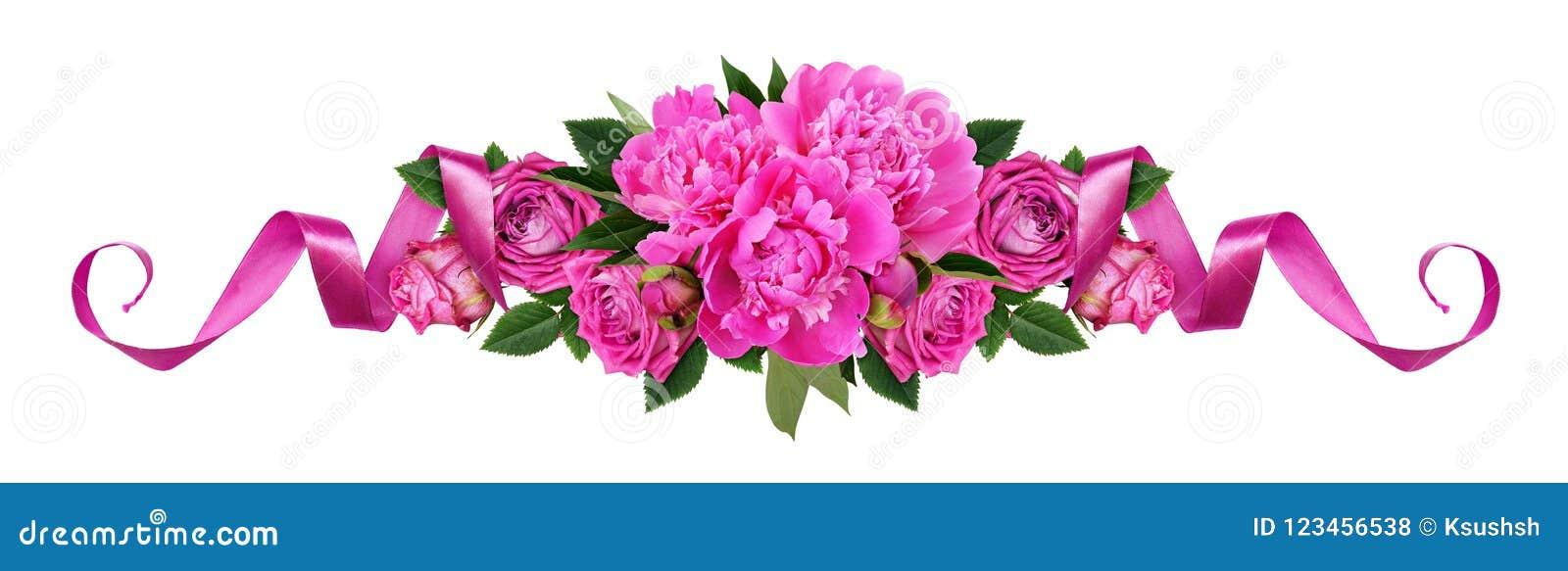 Pivoines roses, fleurs roses et rubans de satin dans une ligne AR florale