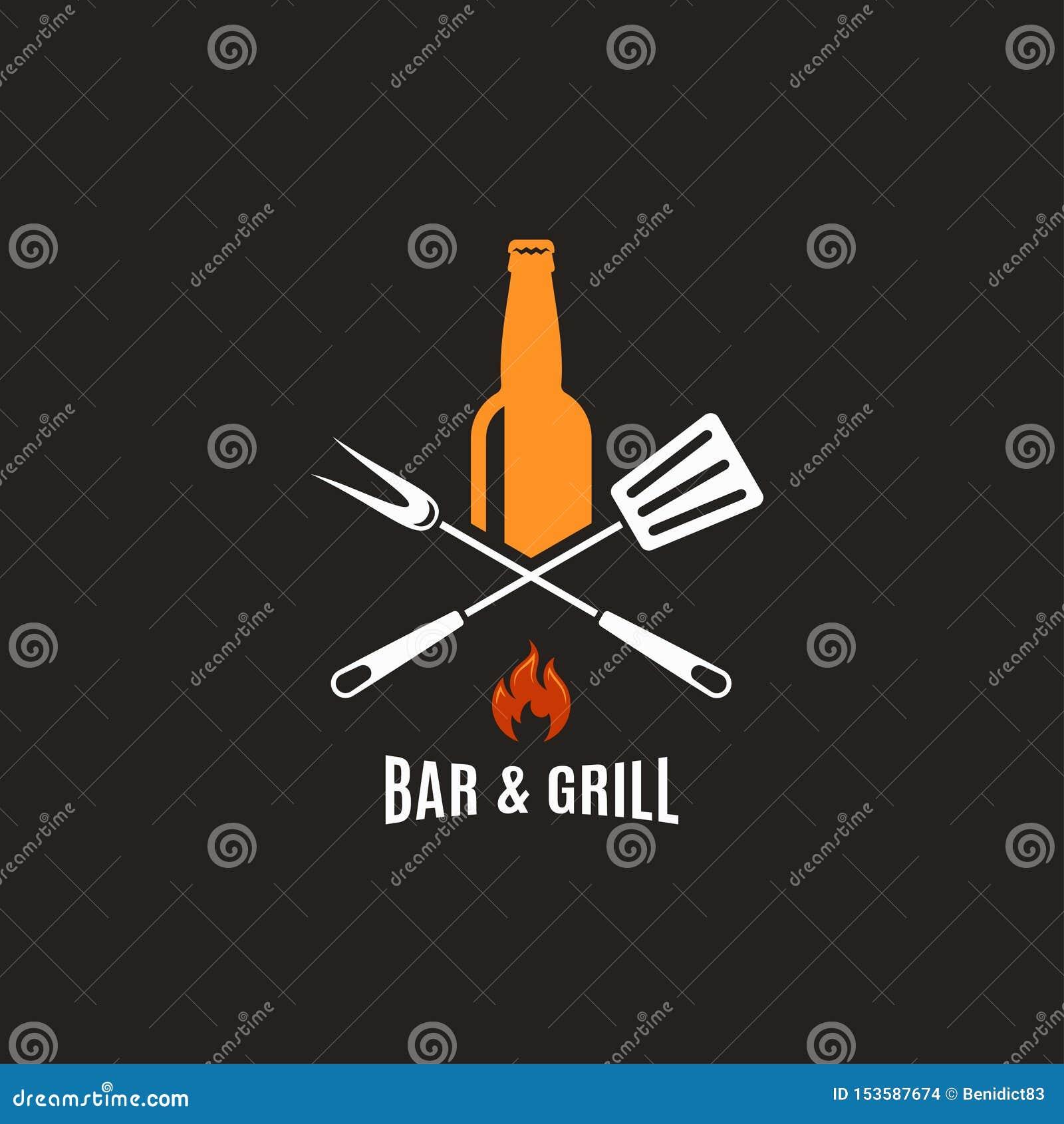 Piwna butelka z grillów narzędziami Prętowy i grill logo