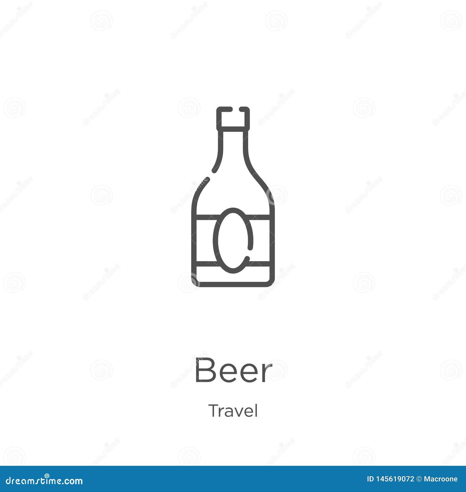Piwny ikona wektor od podróży kolekcji Cienka kreskowa piwna kontur ikony wektoru ilustracja Kontur, cienieje kreskow? piwn? ikon