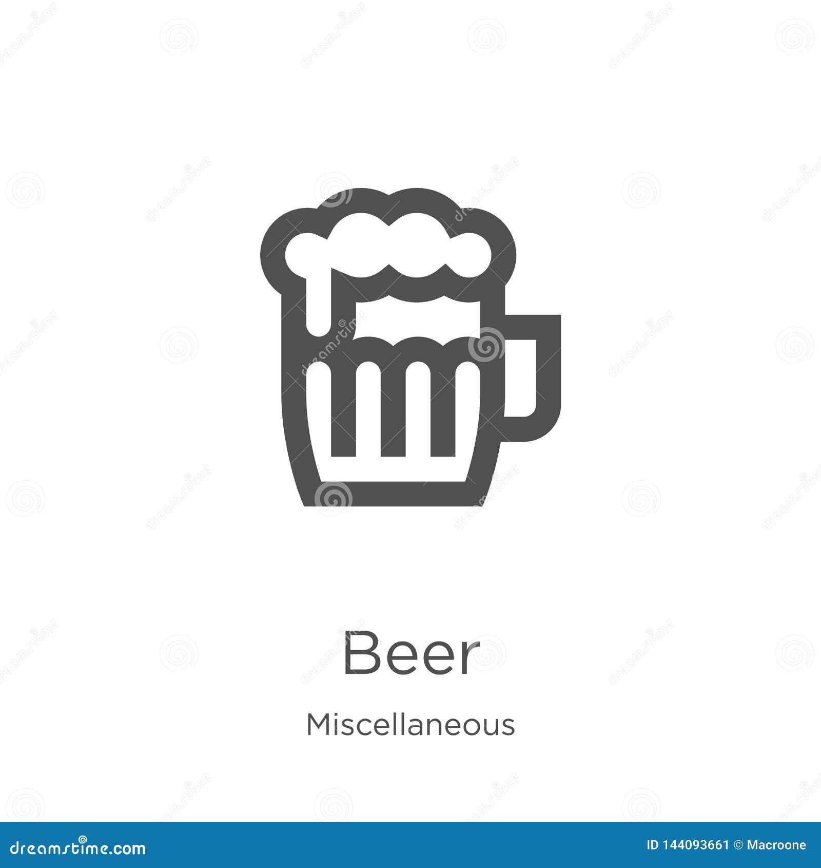 Piwny ikona wektor od różnej kolekcji Cienka kreskowa piwna kontur ikony wektoru ilustracja Kontur, cienieje kreskową piwną ikonę