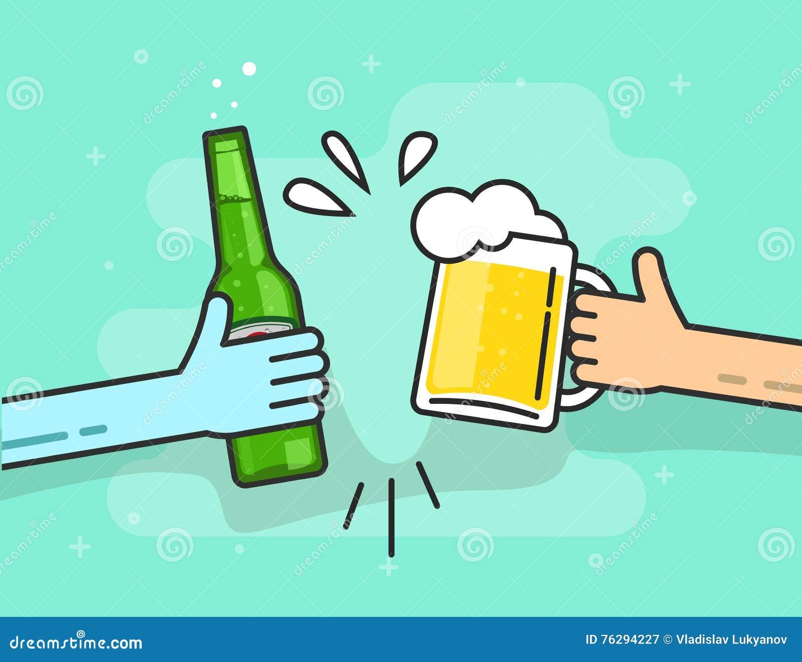 Piwny wznosi toast wektor na błękitnym tle, ręki trzyma szkła