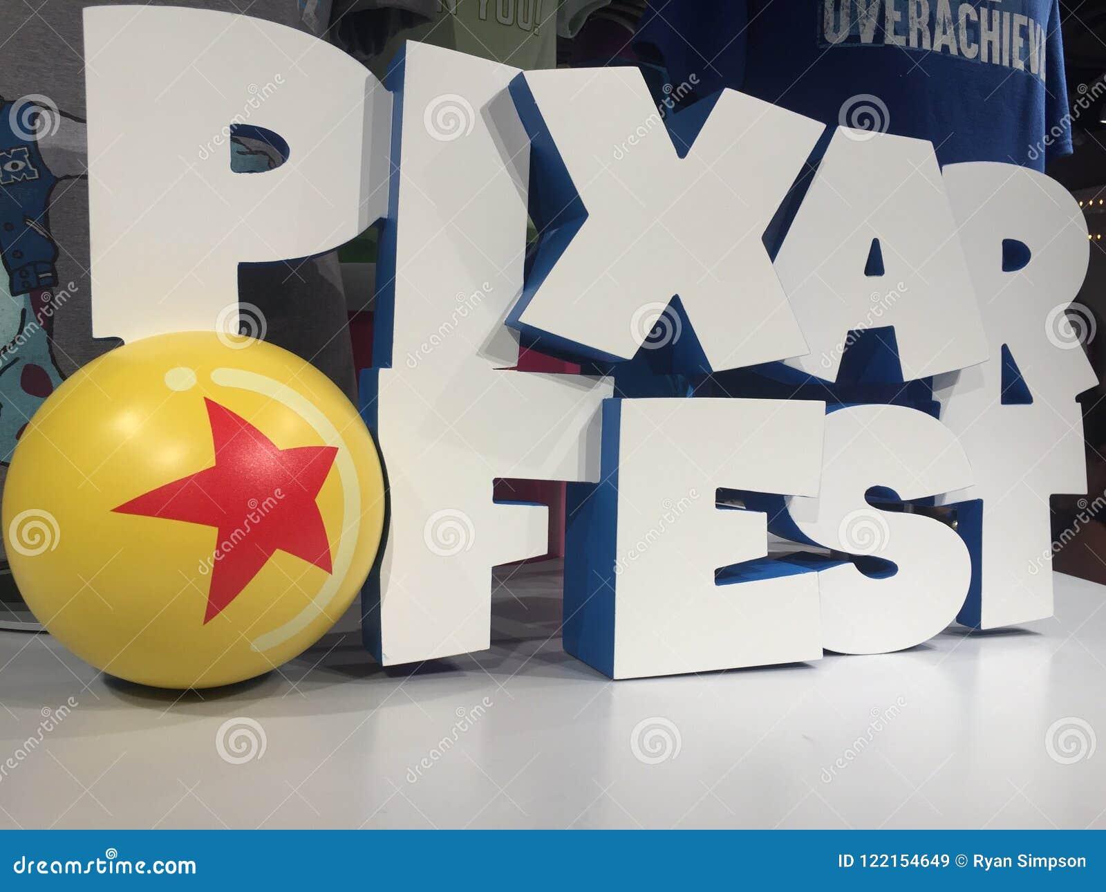 Pixar Fest 3d Logo In Disneyland Shop California Editorial Stock