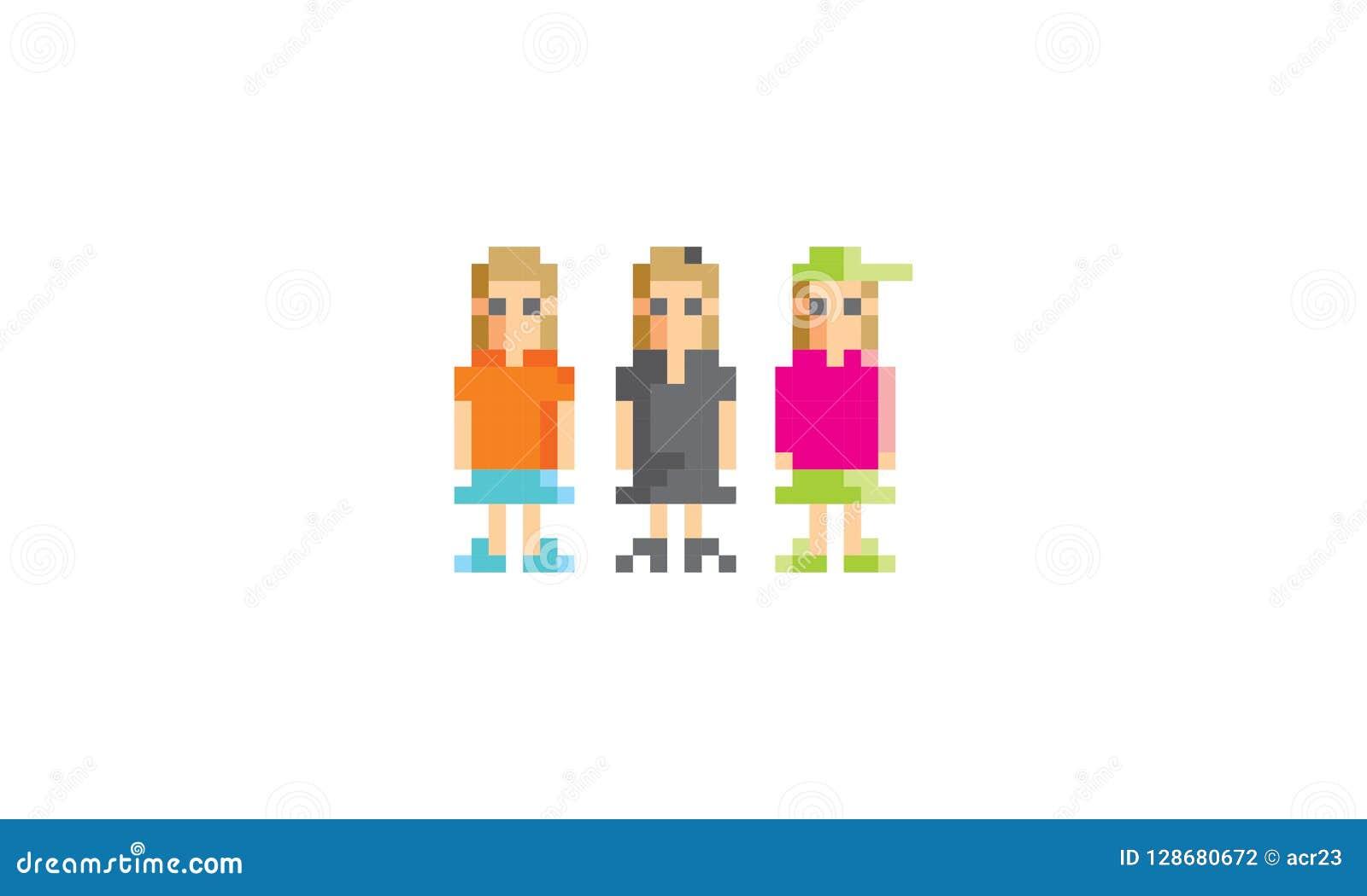 Pixel Adolescent Art Woman Logo Icon Vector Illustration De