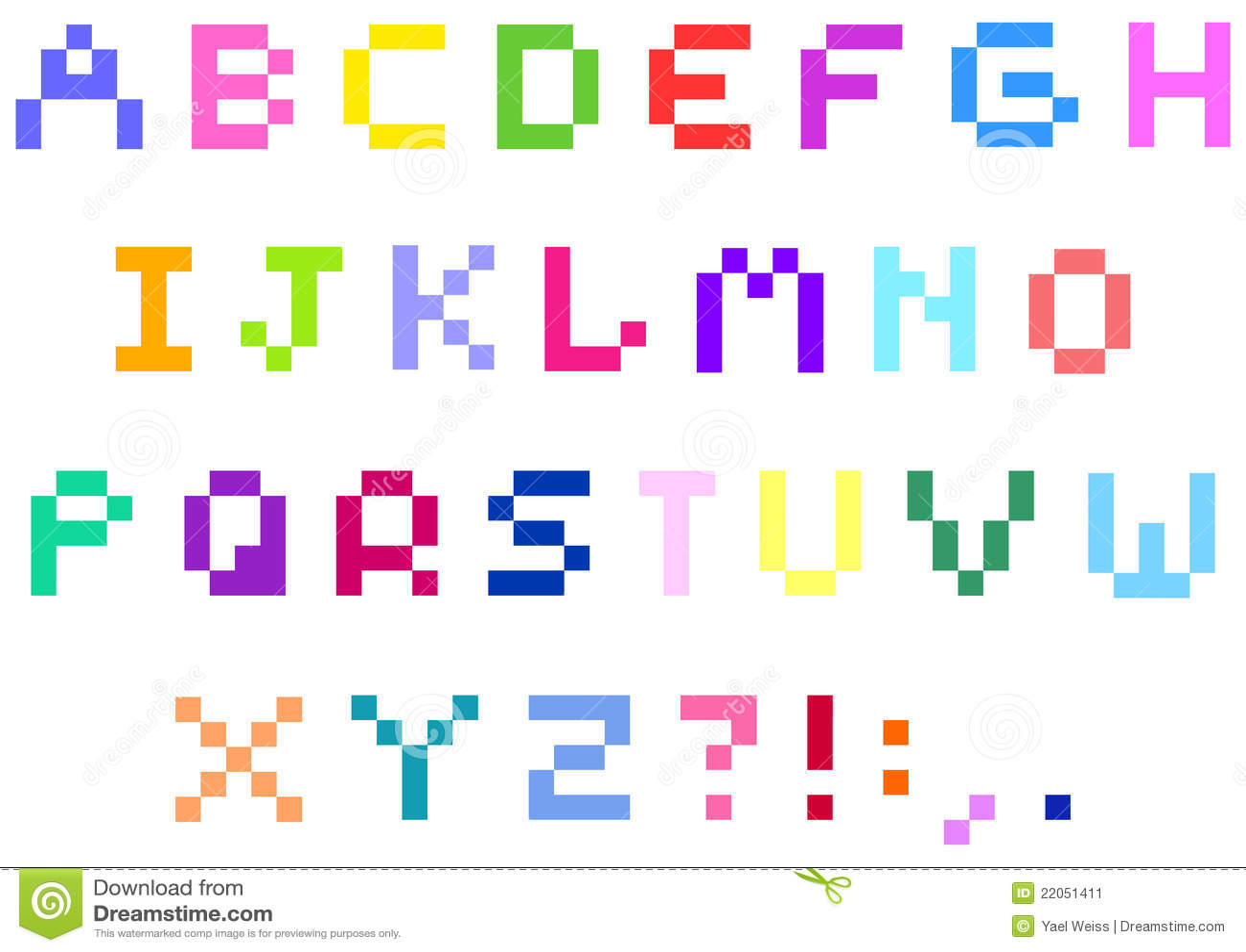 Pixel Alphabet Stock Image - Image: 22051411