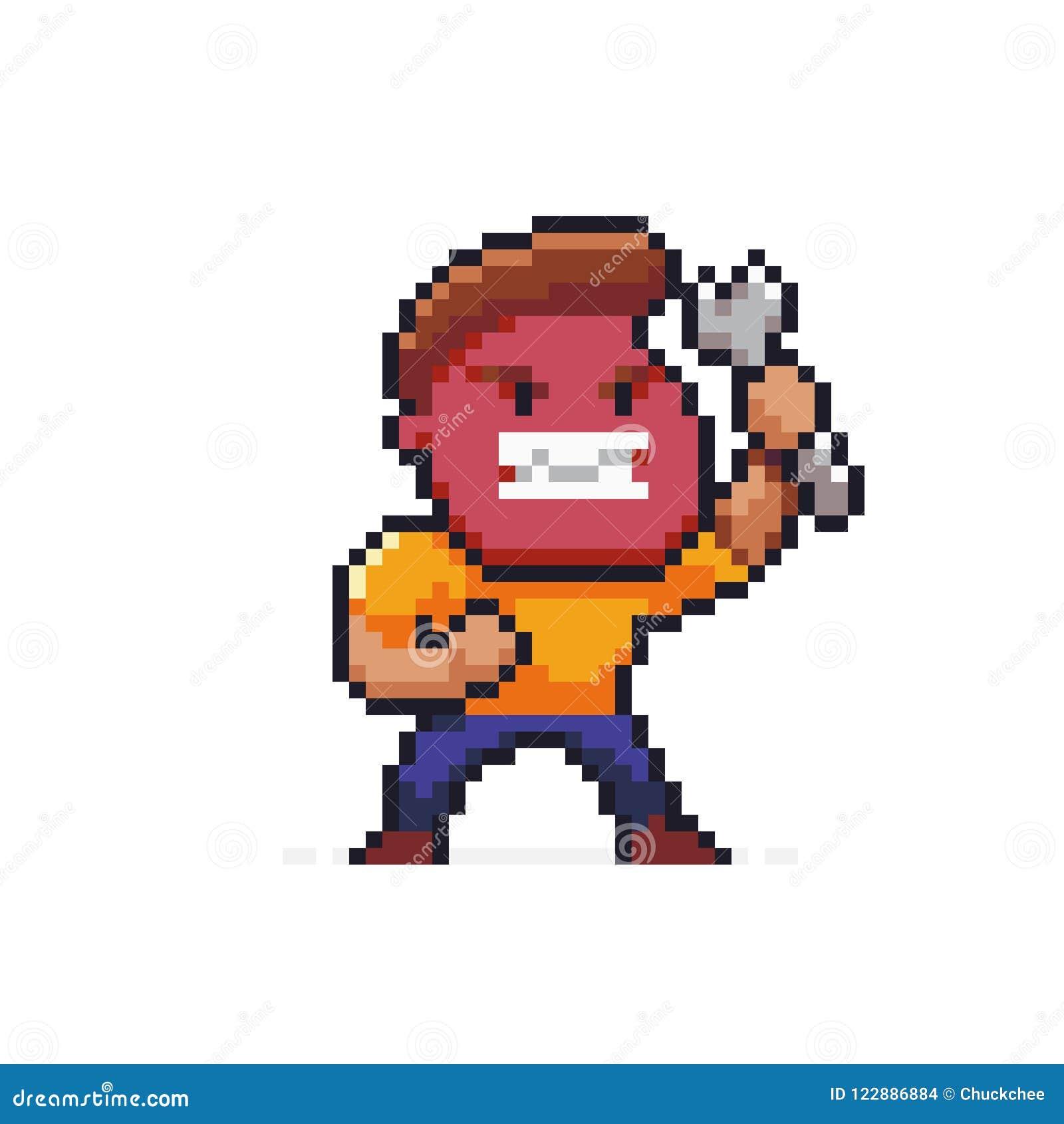Pixel art angry mechanic