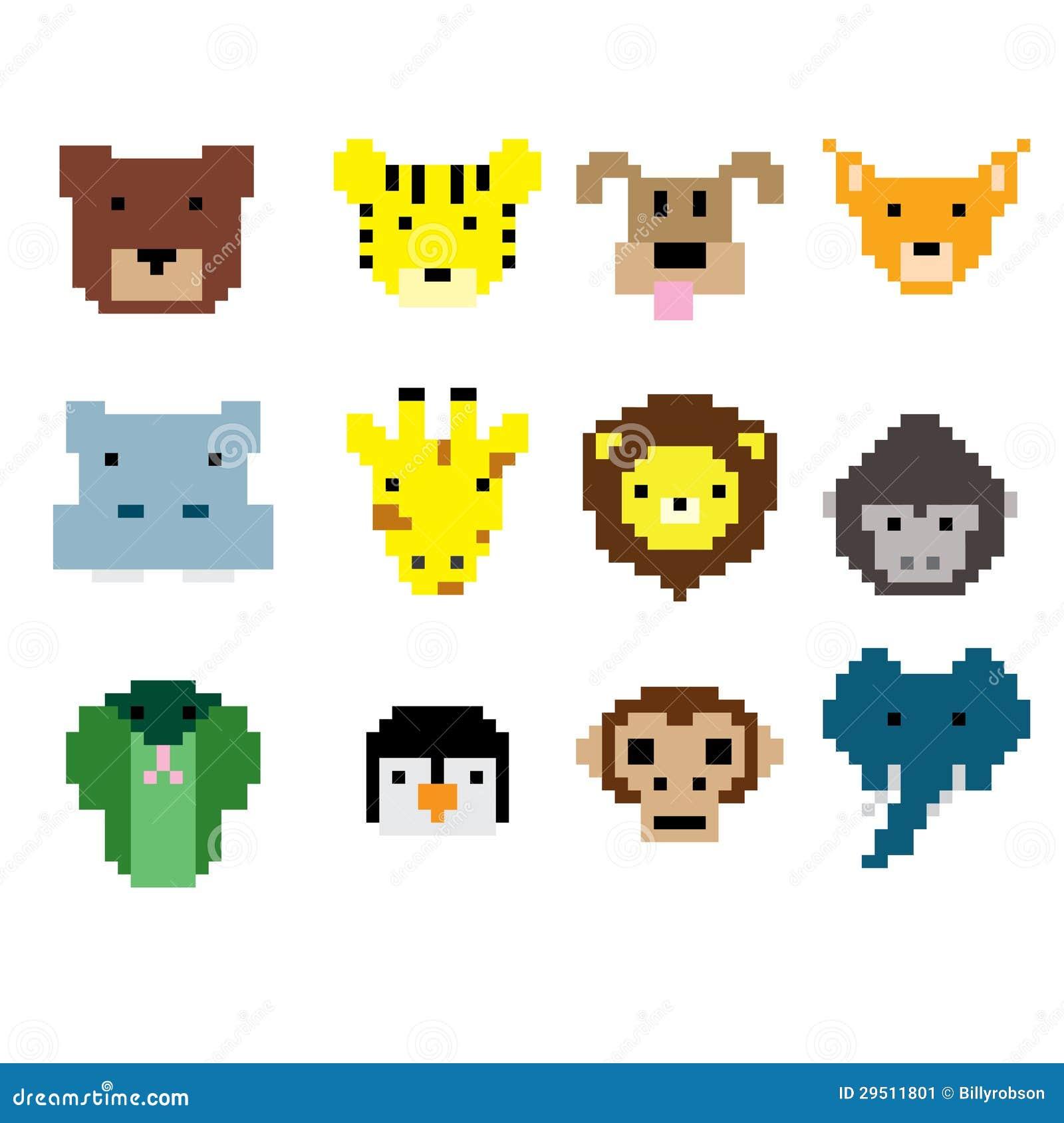 Pixel Art Animal Faces Stock Vector. Illustration Of