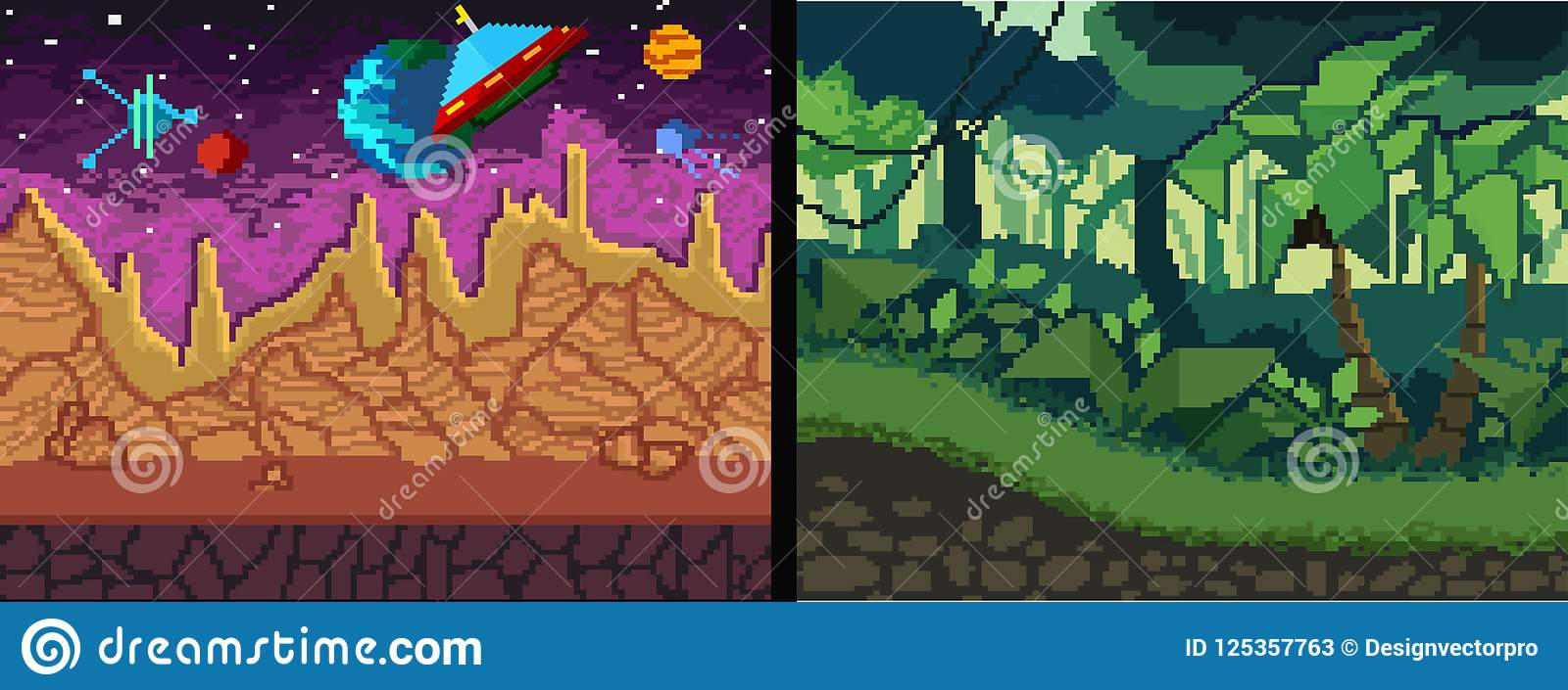 pixel art backgrounds set pixel jungle and space theme for game