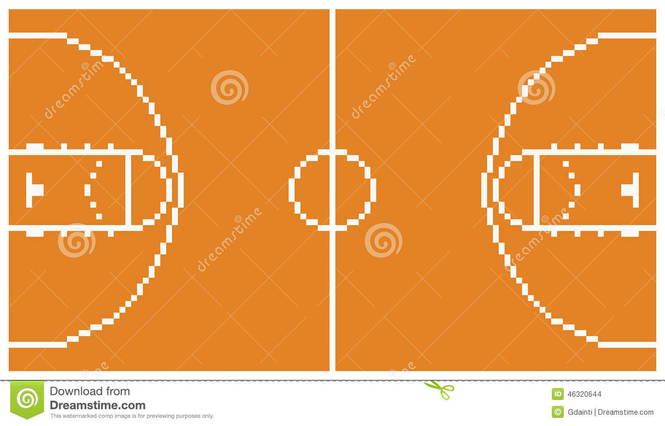 pixel art basketball sport court layout retro 8 stock