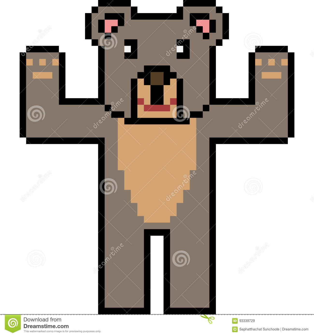 pixel art bear stand stock vector illustration of character 93339729