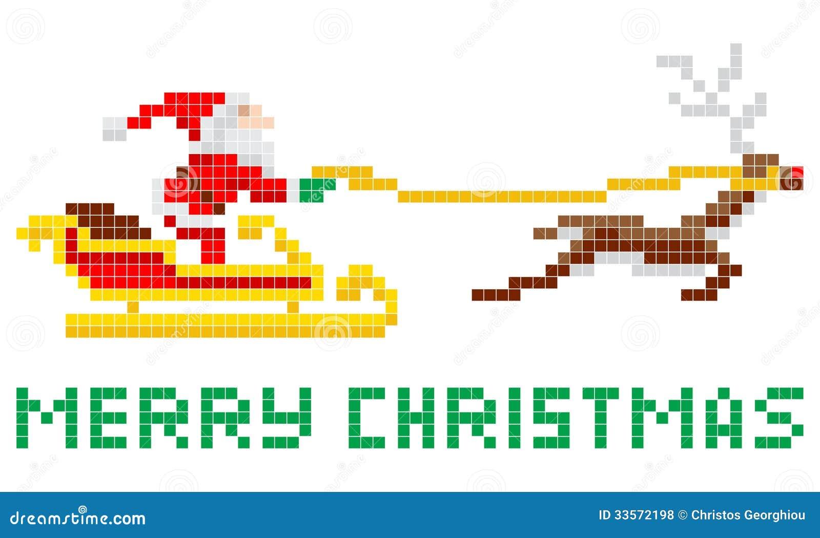 Pixel Art Christmas Santa And Sled Royalty Free Stock Photos ...