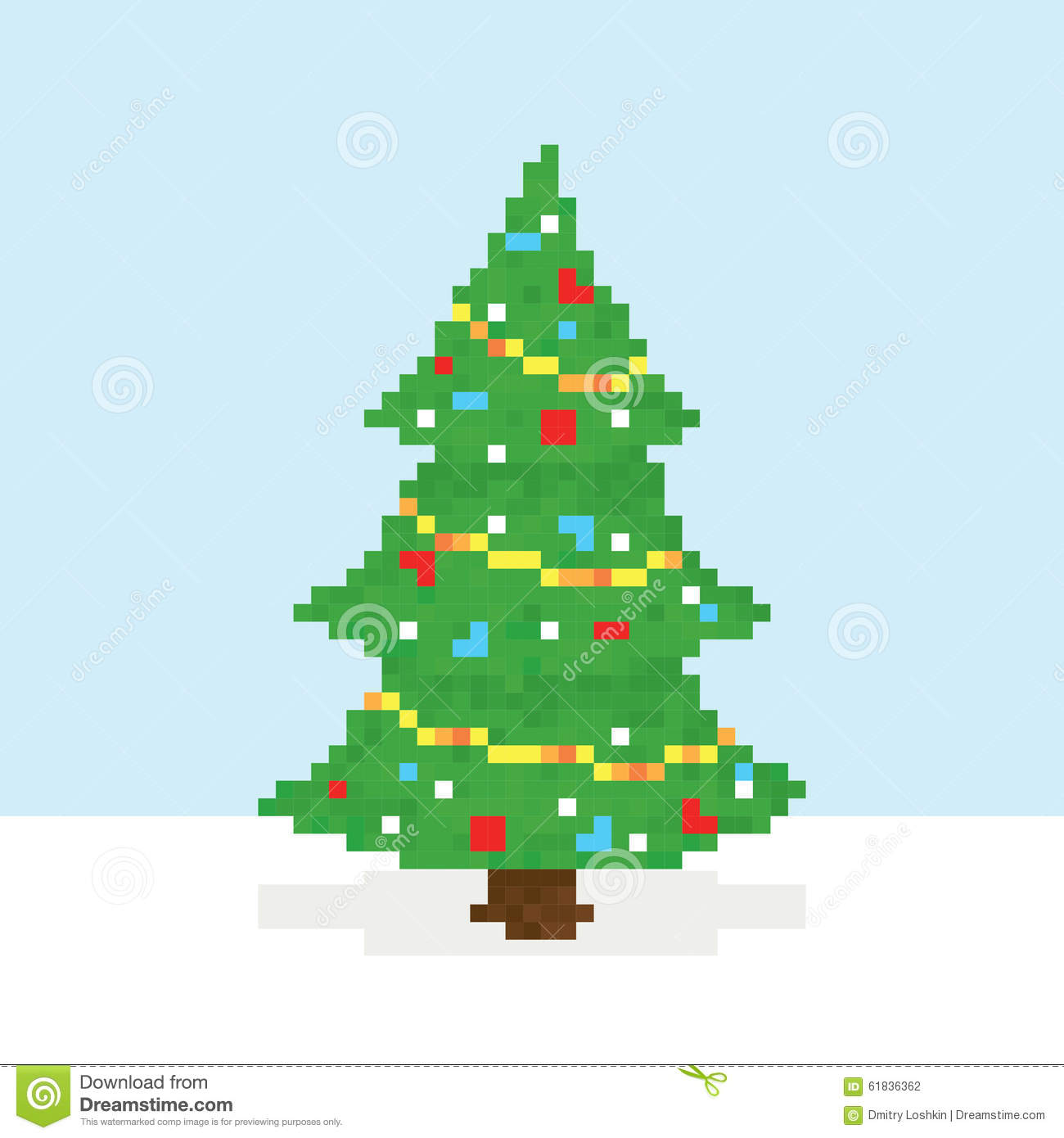 pixel art christmas tree vector postcard