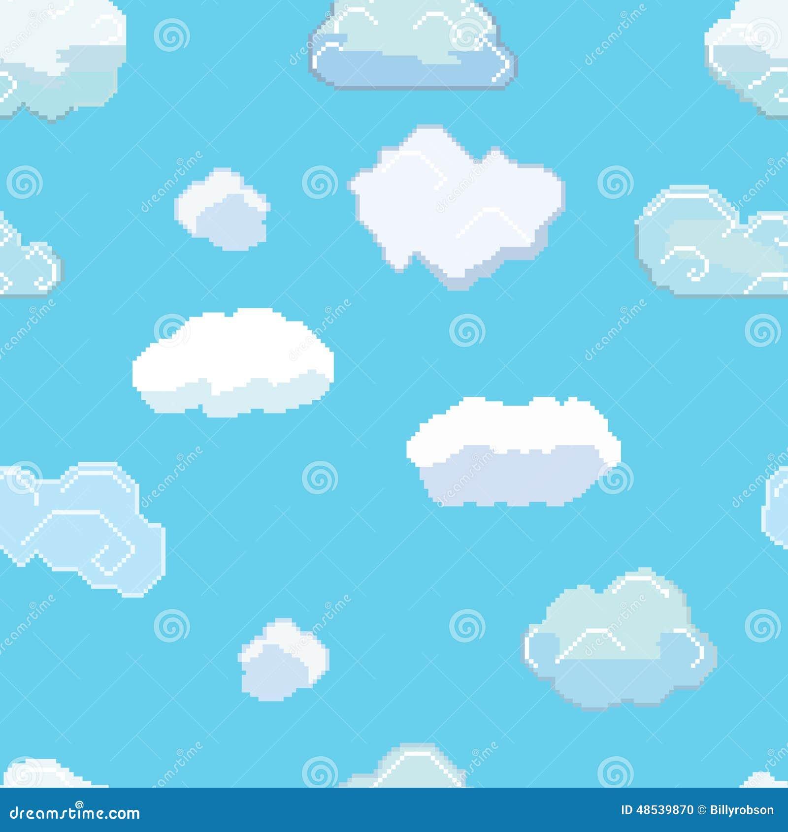 Pixel Art Clouds Seamless Pattern del vector