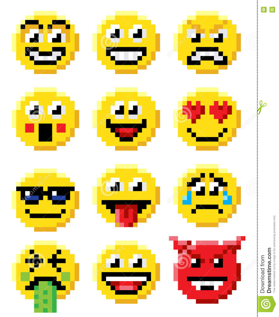 Pixel Art Emoji Emoticon Set Stock Vector Illustration