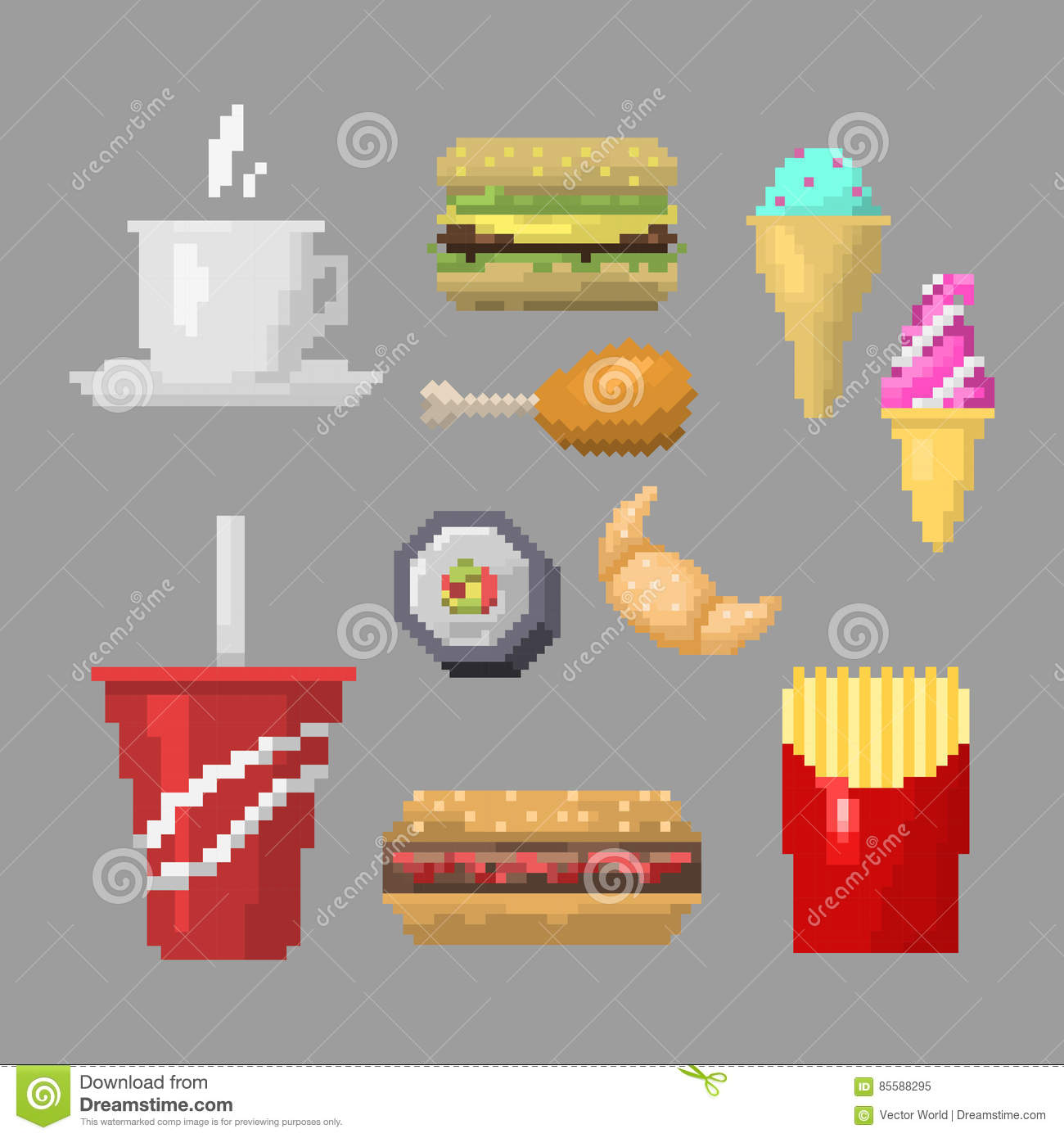 For restaurant pictures graphics illustrations clipart photos - Royalty Free Vector Art Breakfast Design Element Fast Food Game Graphic Illustration Pixel Pixelated Restaurant Retro Vector