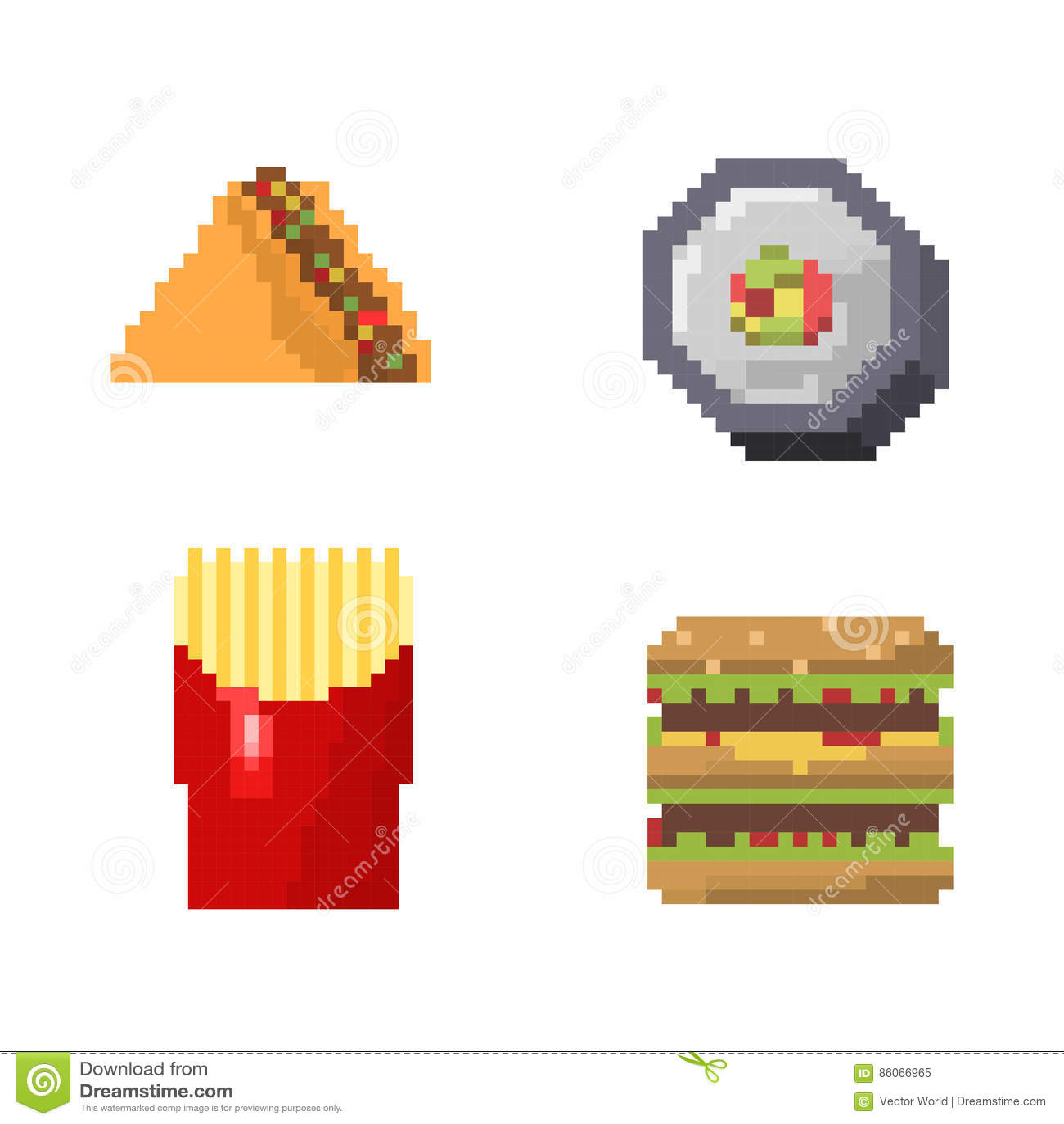 Pixel Art Fast Food Icons Vector Stock Vector