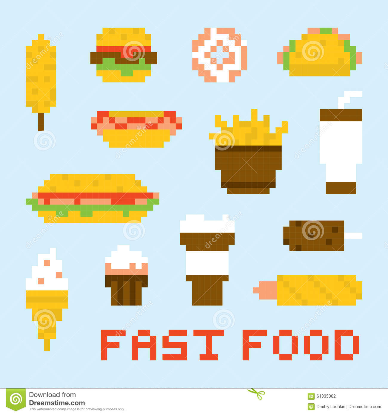 Pixel Art Fast Food Vector Set Stock Vector Illustration