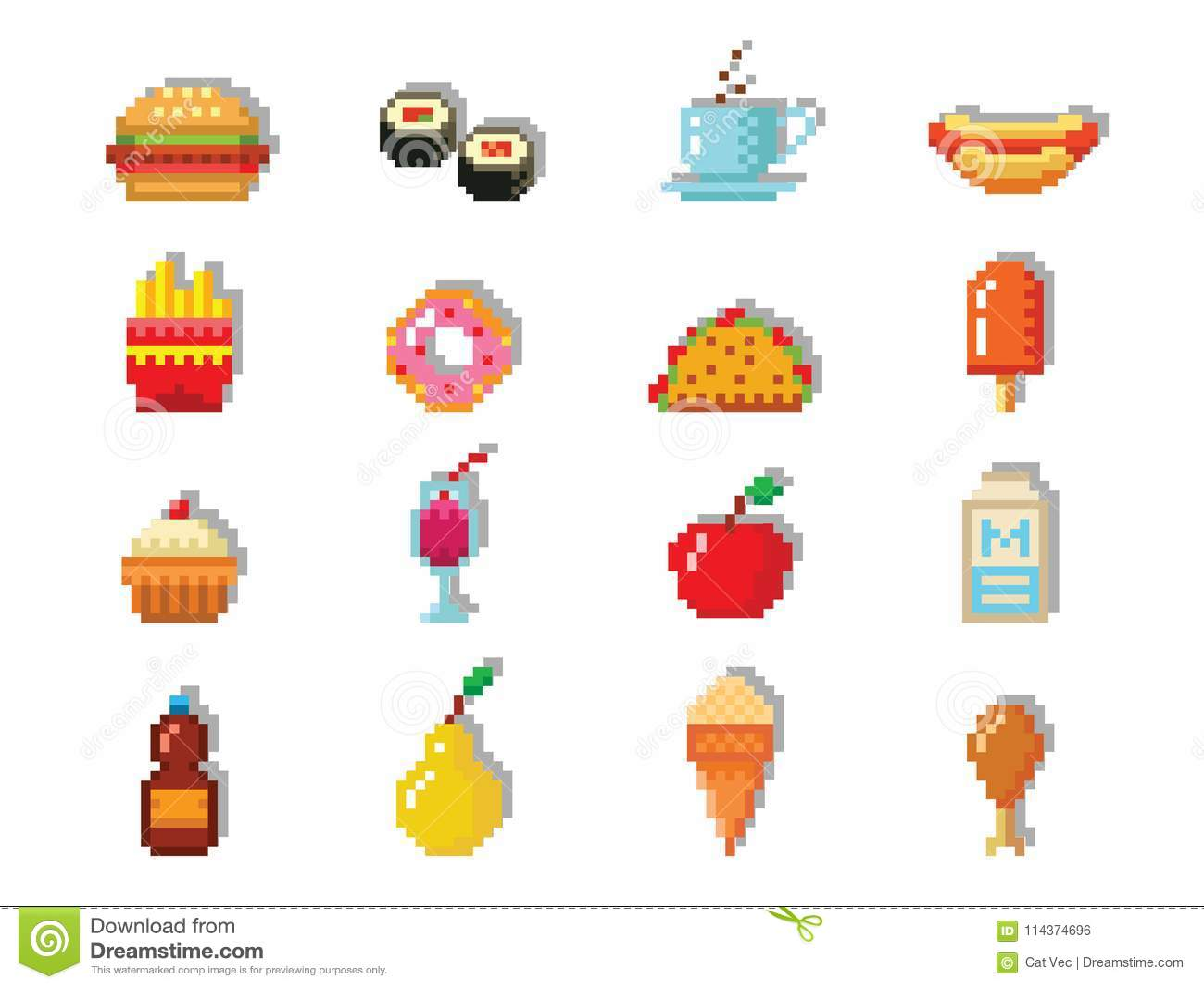 Pixel Art Food Computer Design Icons Vector Illustration Restaurant Pixelated Element Fast Food Retro Game Web Graphic Stock Vector Illustration Of Cake Food 114374696