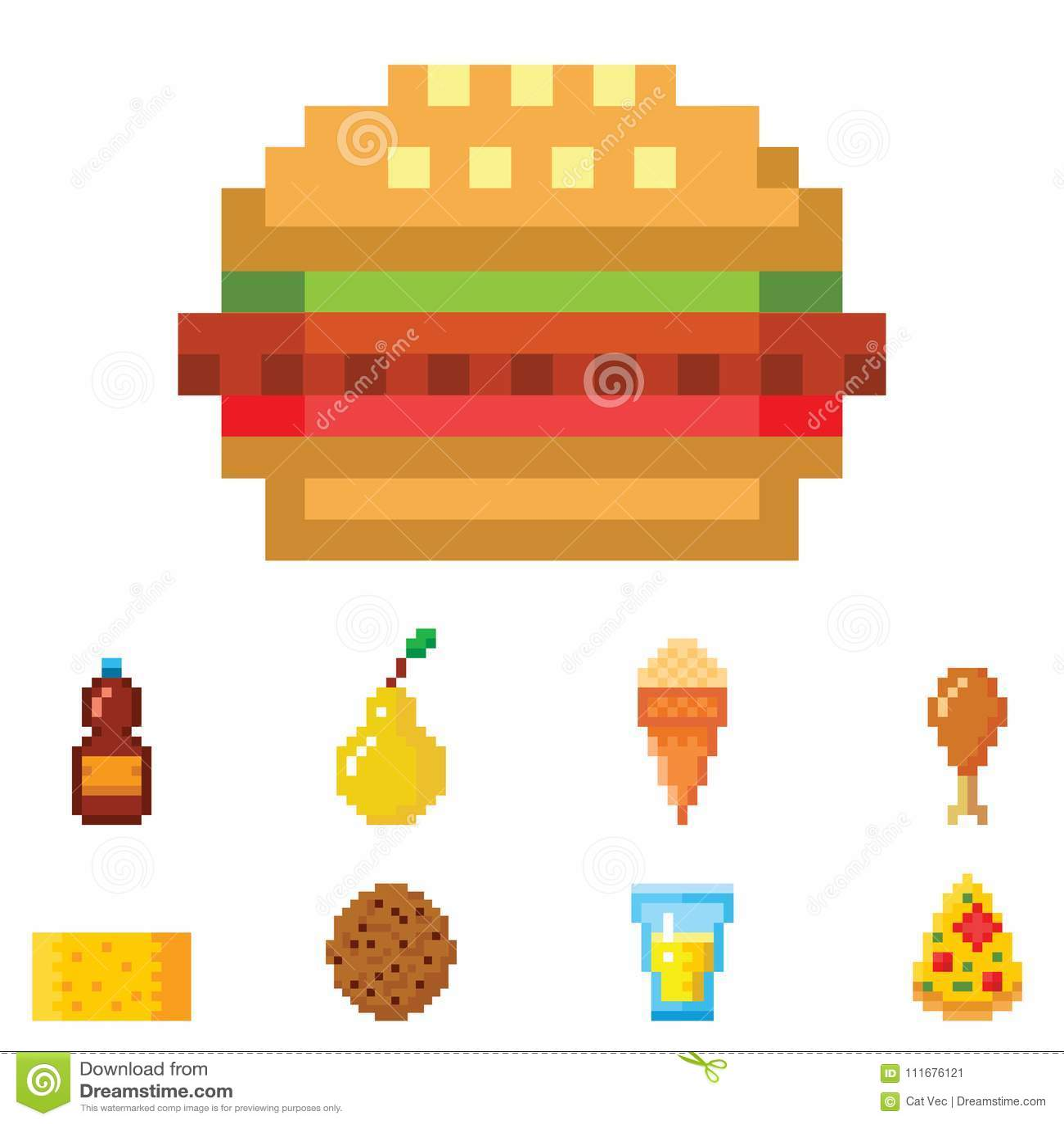 Pixel Art Food Computer Design Icons Vector Illustration Restaurant Pixelated Element Fast Food Retro Game Web Graphic Stock Vector Illustration Of Bottle Cartoon 111676121