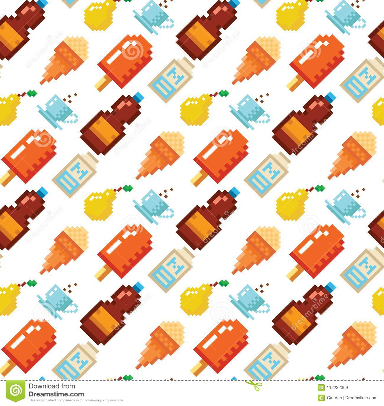 Pixel Art Food Computer Design Seamless Pattern Background Vector Illustration Restaurant Pixelated Element Fast Food Stock Vector Illustration Of Healthy Design 112232369
