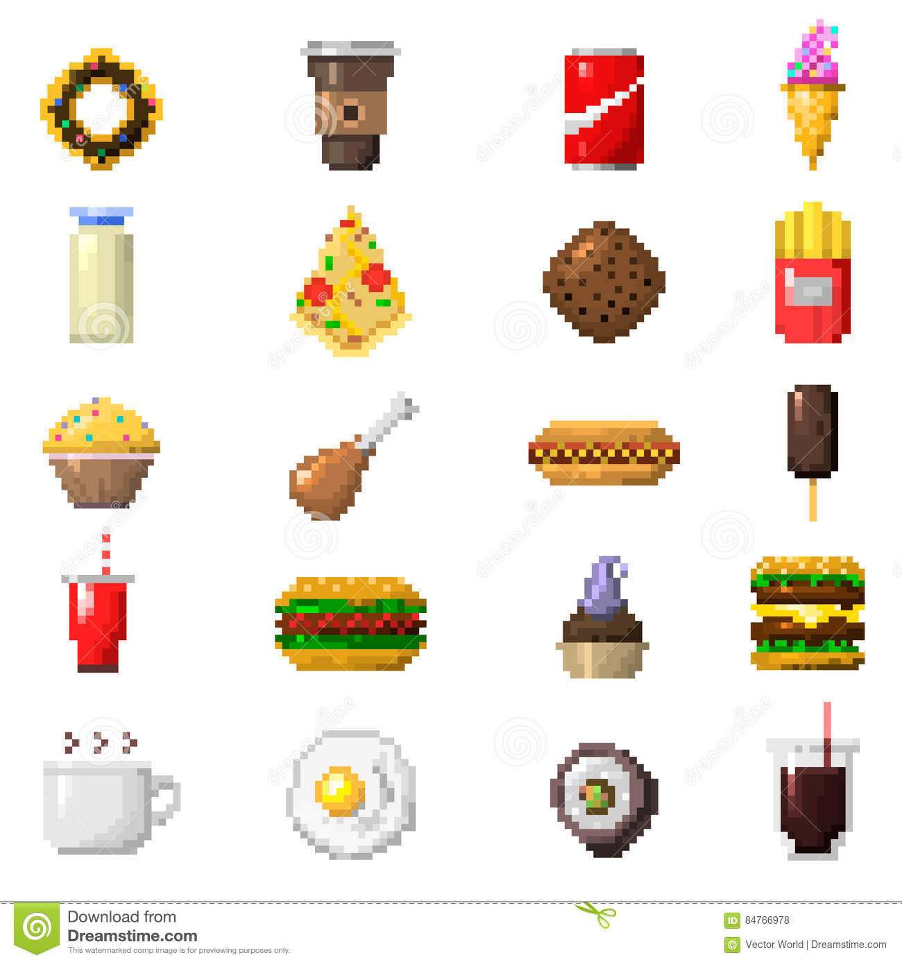 Pixel Art Food Icons Vector Stock Vector Illustration Of