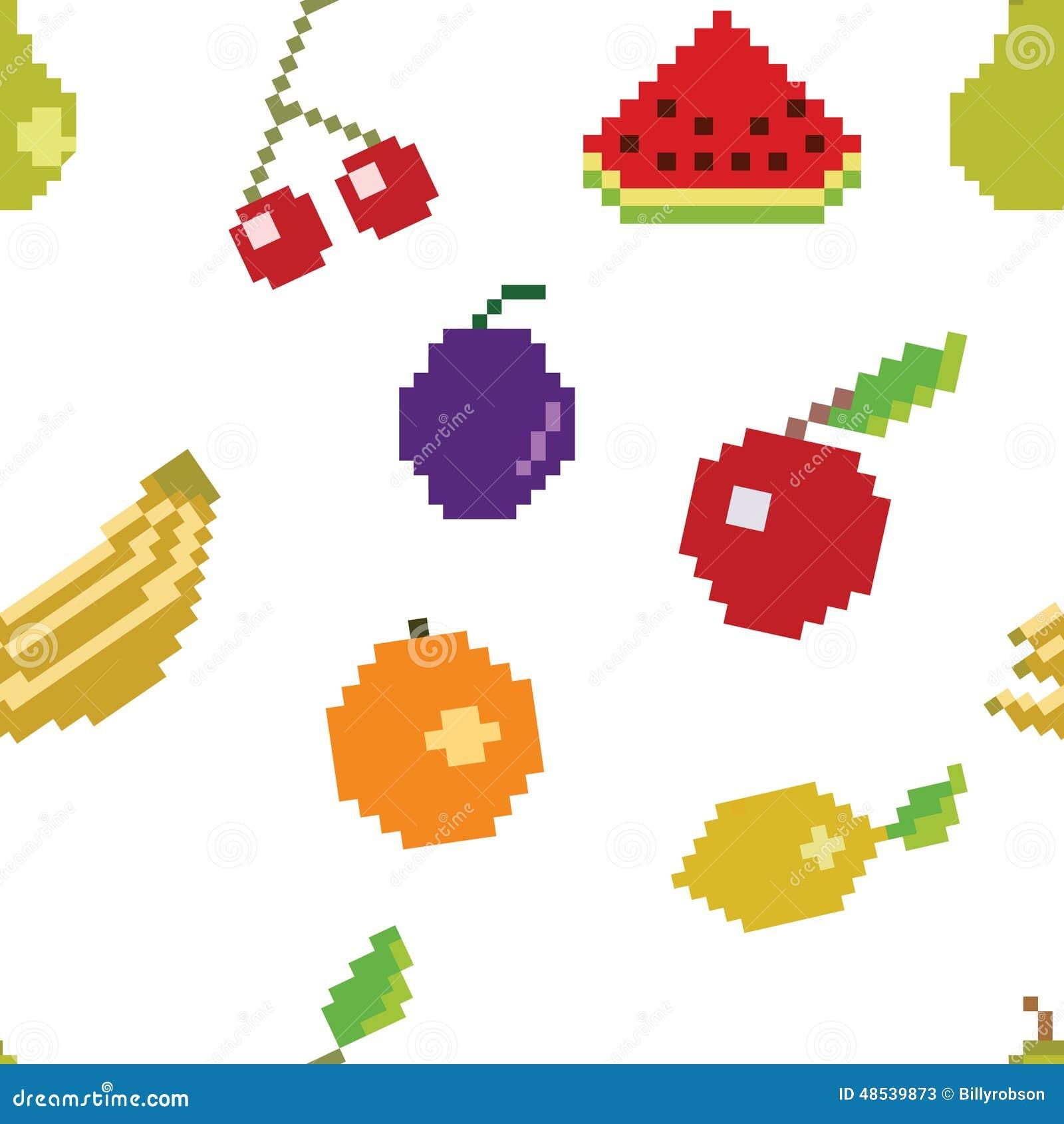 Pixel Art Fruit Seamless Pattern de vecteur