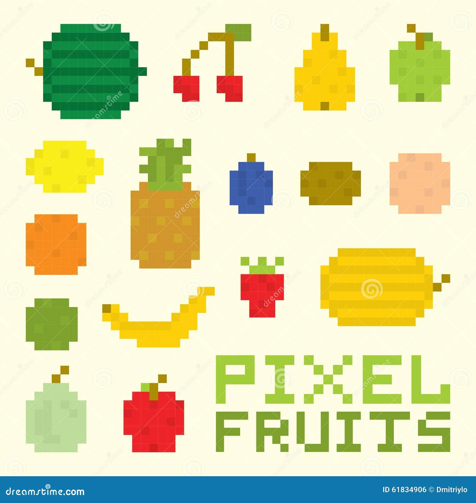 Pixel Art Fruits Vector Set Stock Vector Illustration Of